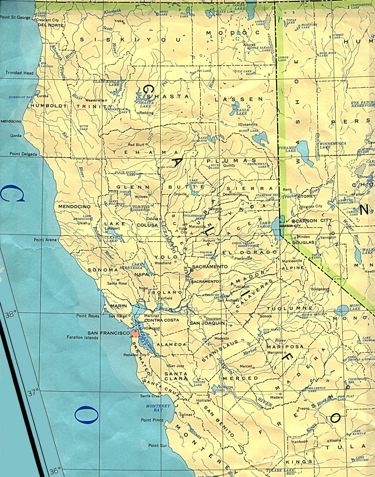 Lakeport (CA) United States  City new picture : Northern California State Map, United States Full size