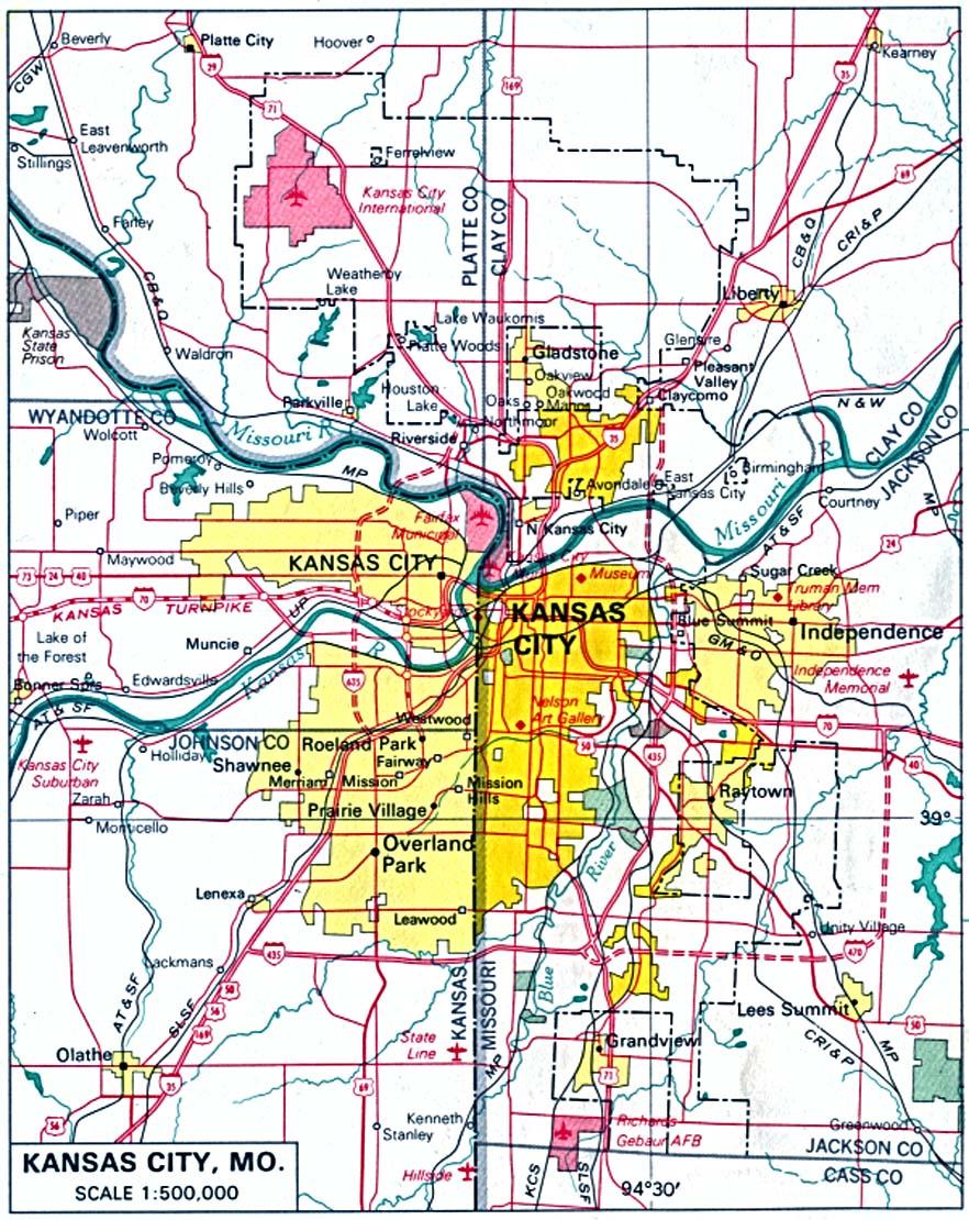 Kansas City Map Missouri And Kansas Kansas United