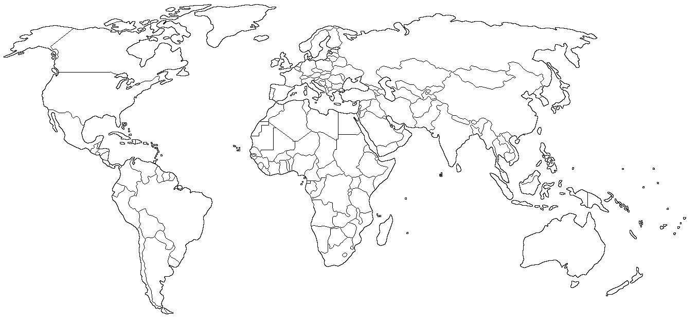 World political outline map Full size