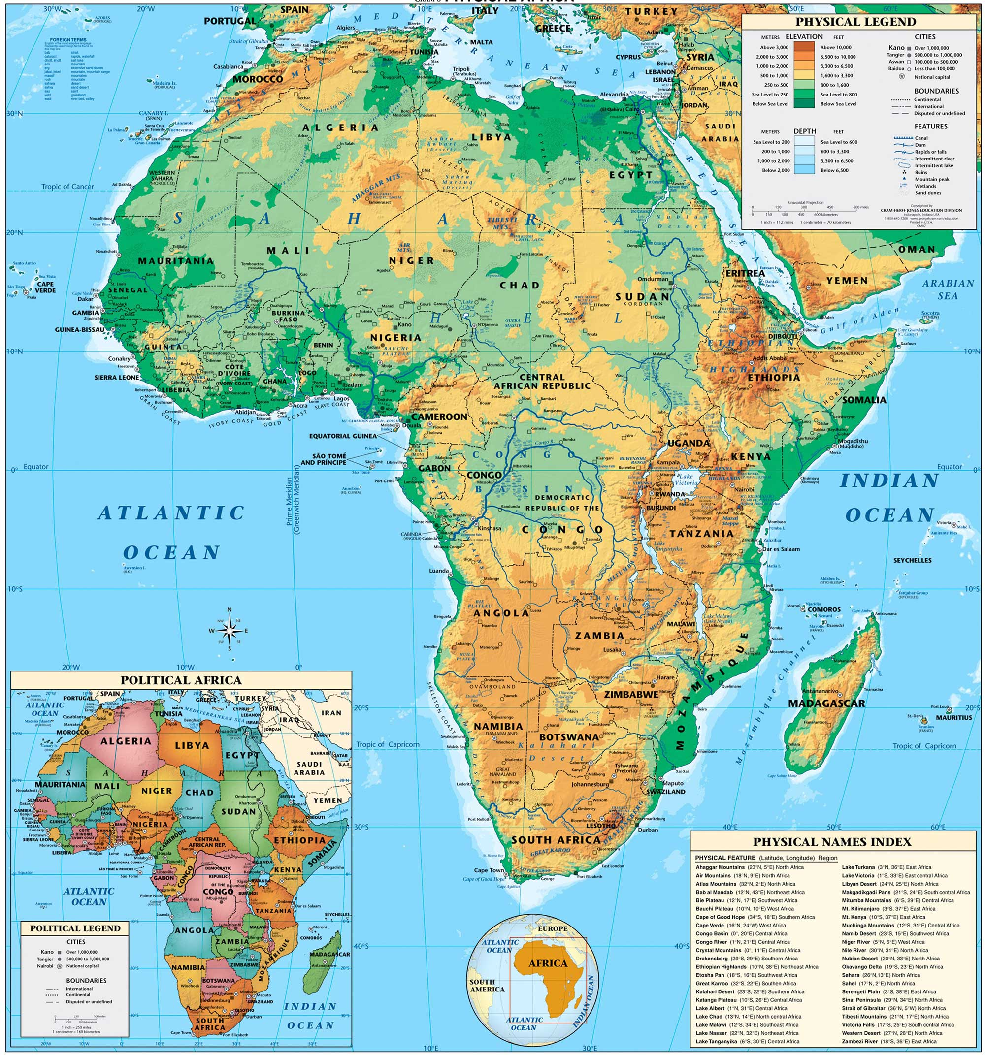 Physical Map Of Africa | New Calendar Template Site