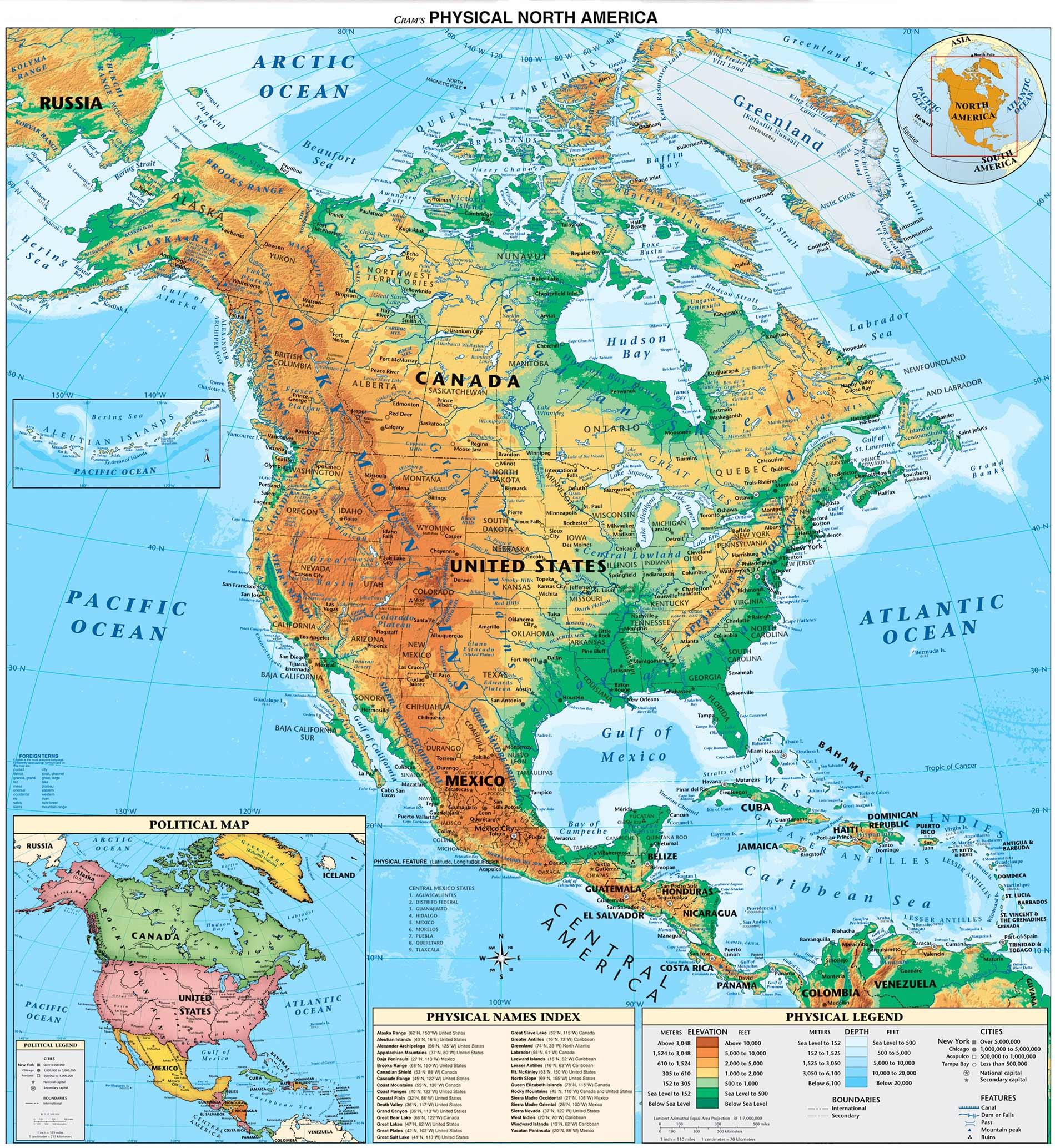 Mapa Físico de América del ...
