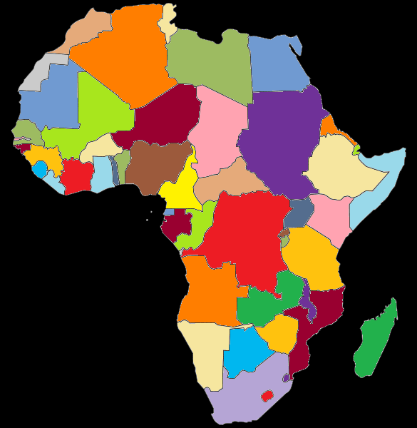 Colored Political Map Of Africa Full Size