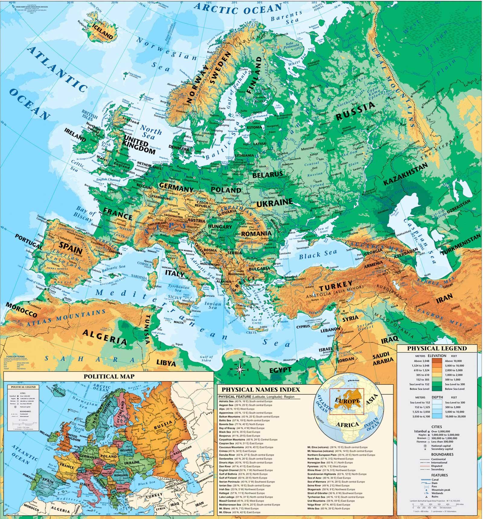 Mapa físico de Europa - Tamaño completo