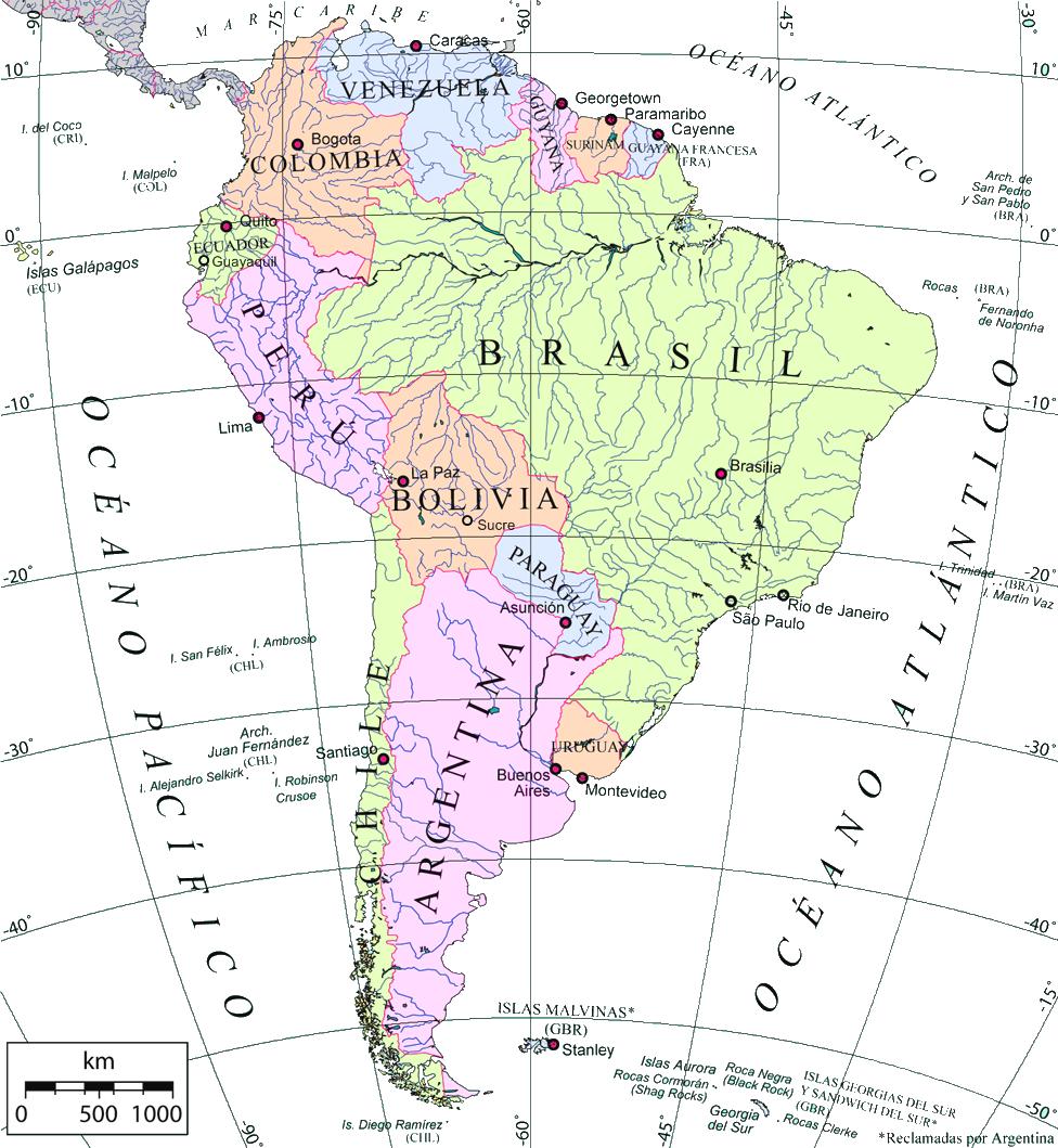 Spanish South America Map