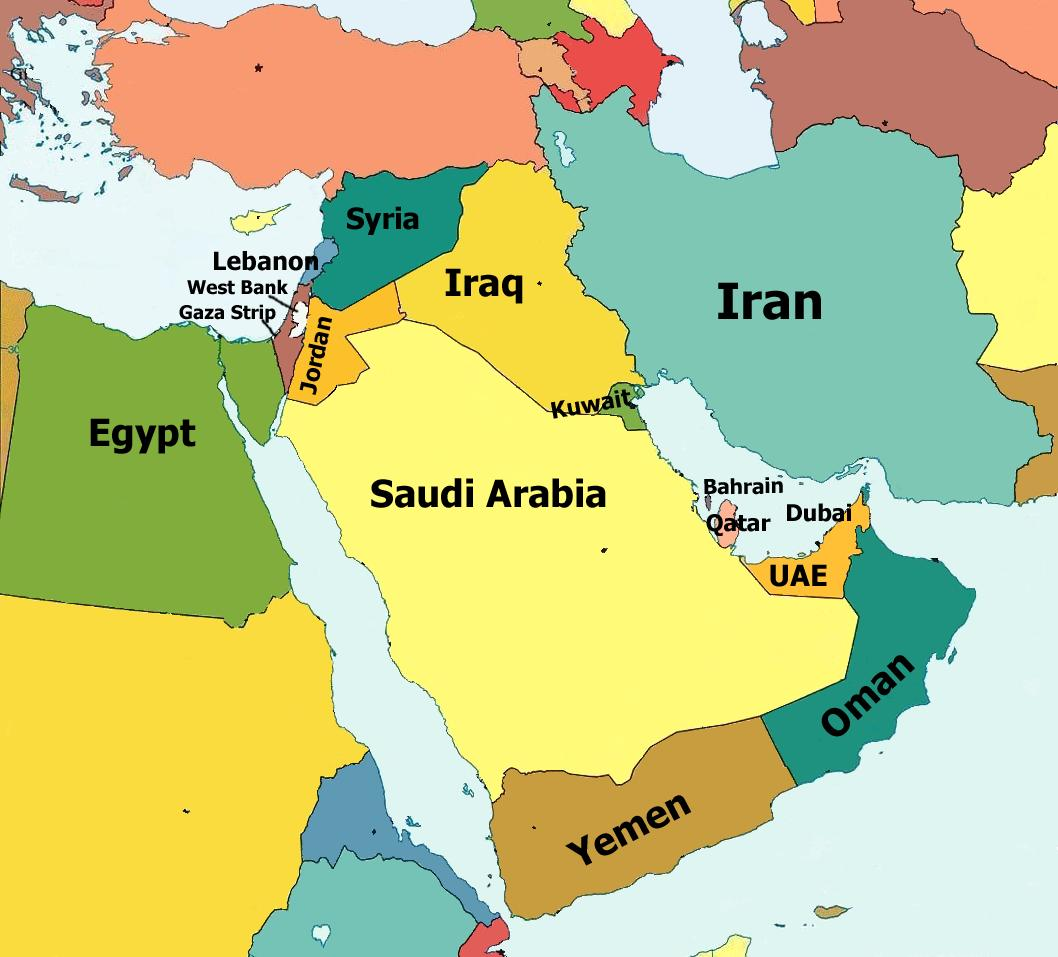 Middle East Political Map Full size