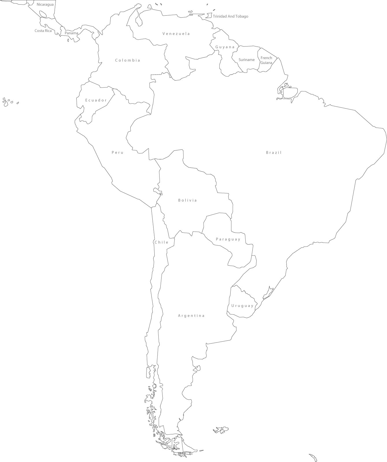 South America Political Outline Map Full size