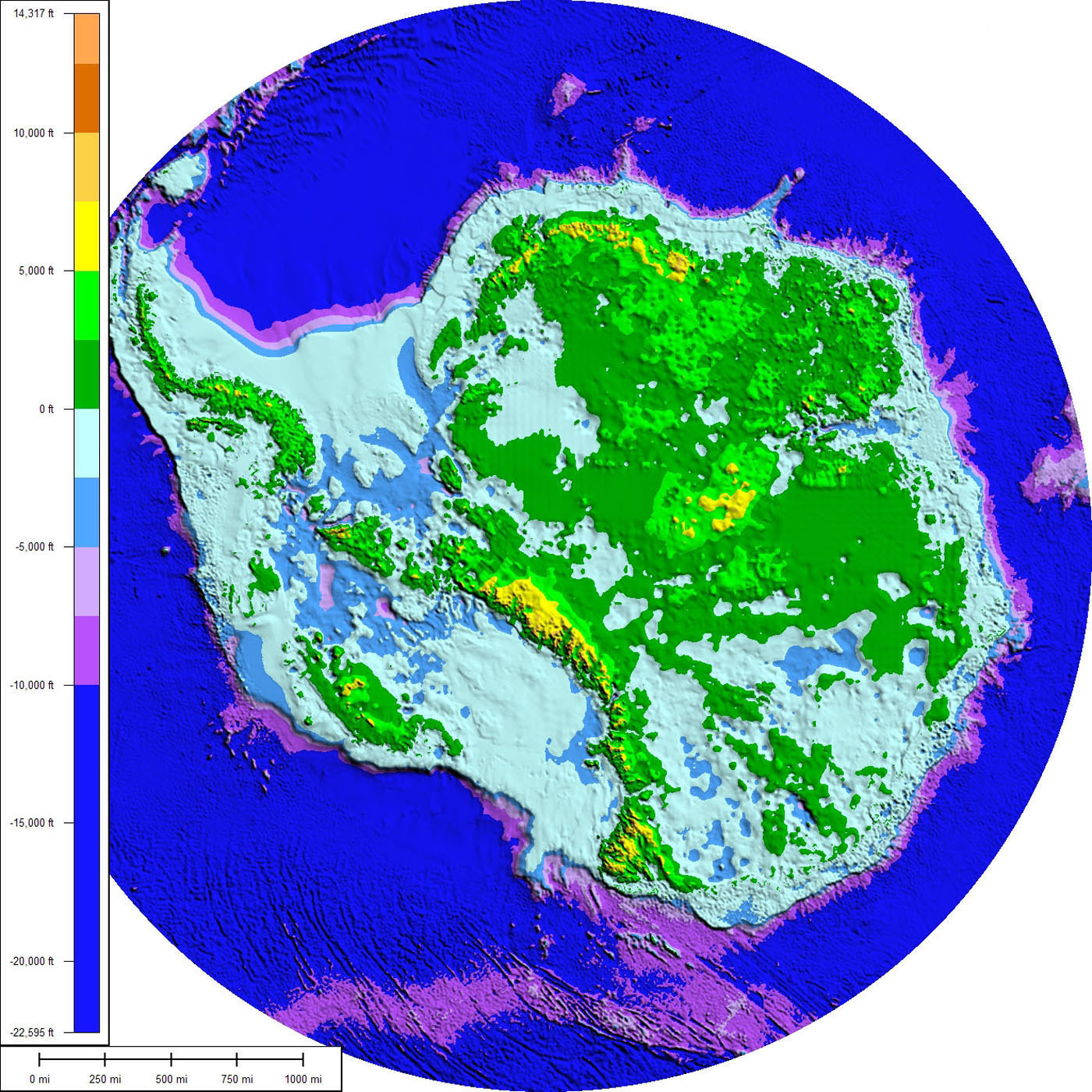 Antarctica topography and bathymetry 2008