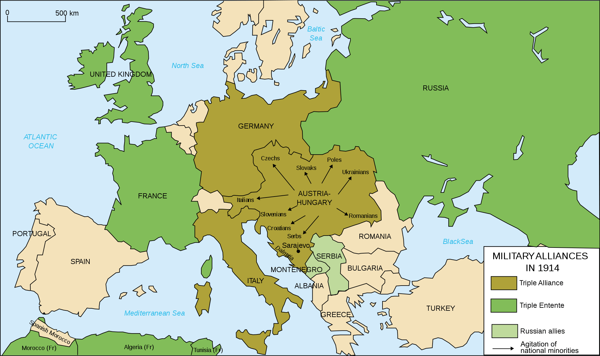 Europe 39 s military alliances in World War I 1914 Full size