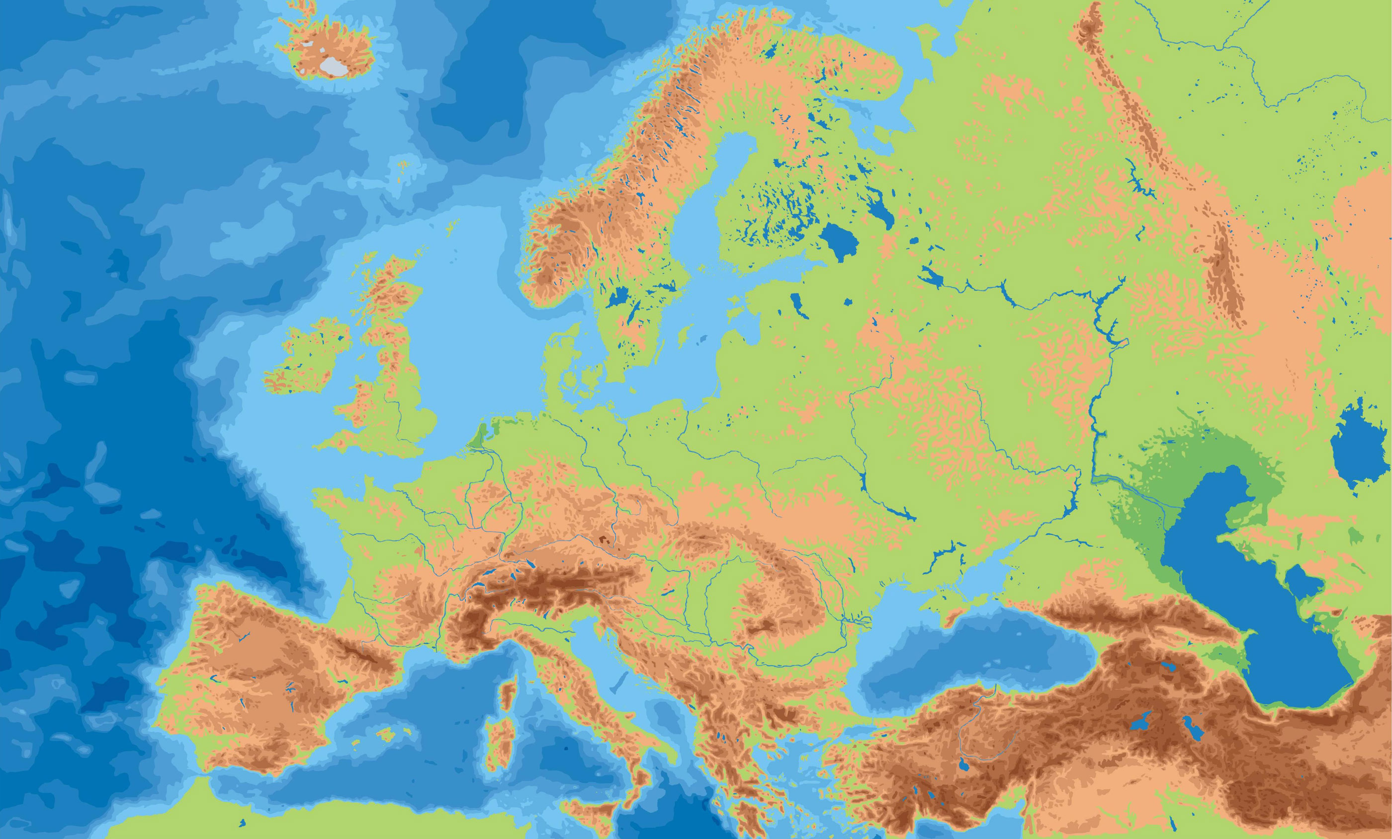 Europe physical map Full size
