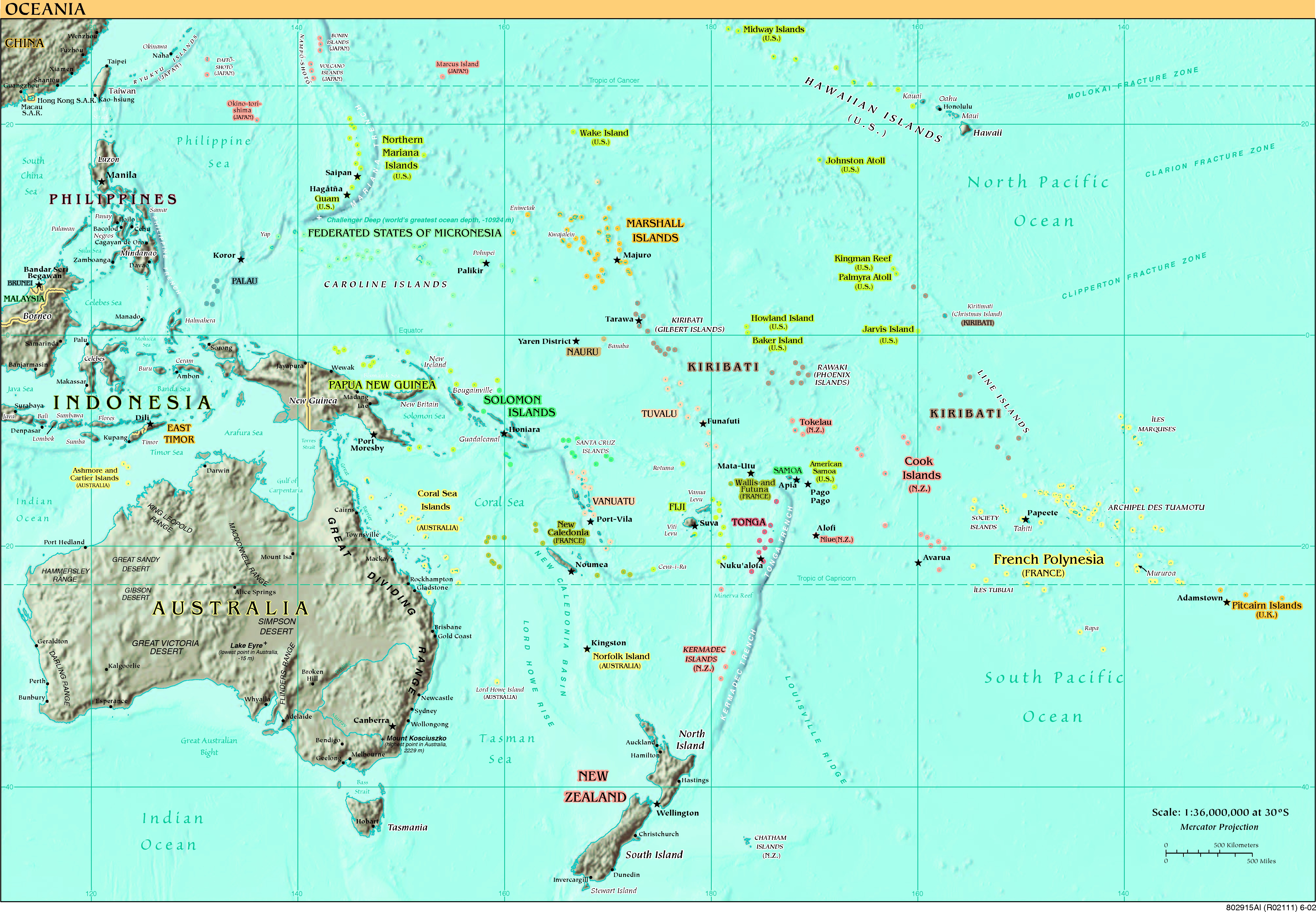 ... - Oceania Political Map Oceania Country Map Oceania Map With Country