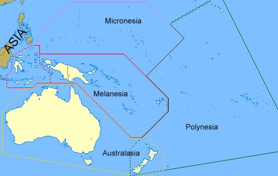 Regiones de Oceanía 2008 - Tamaño completo