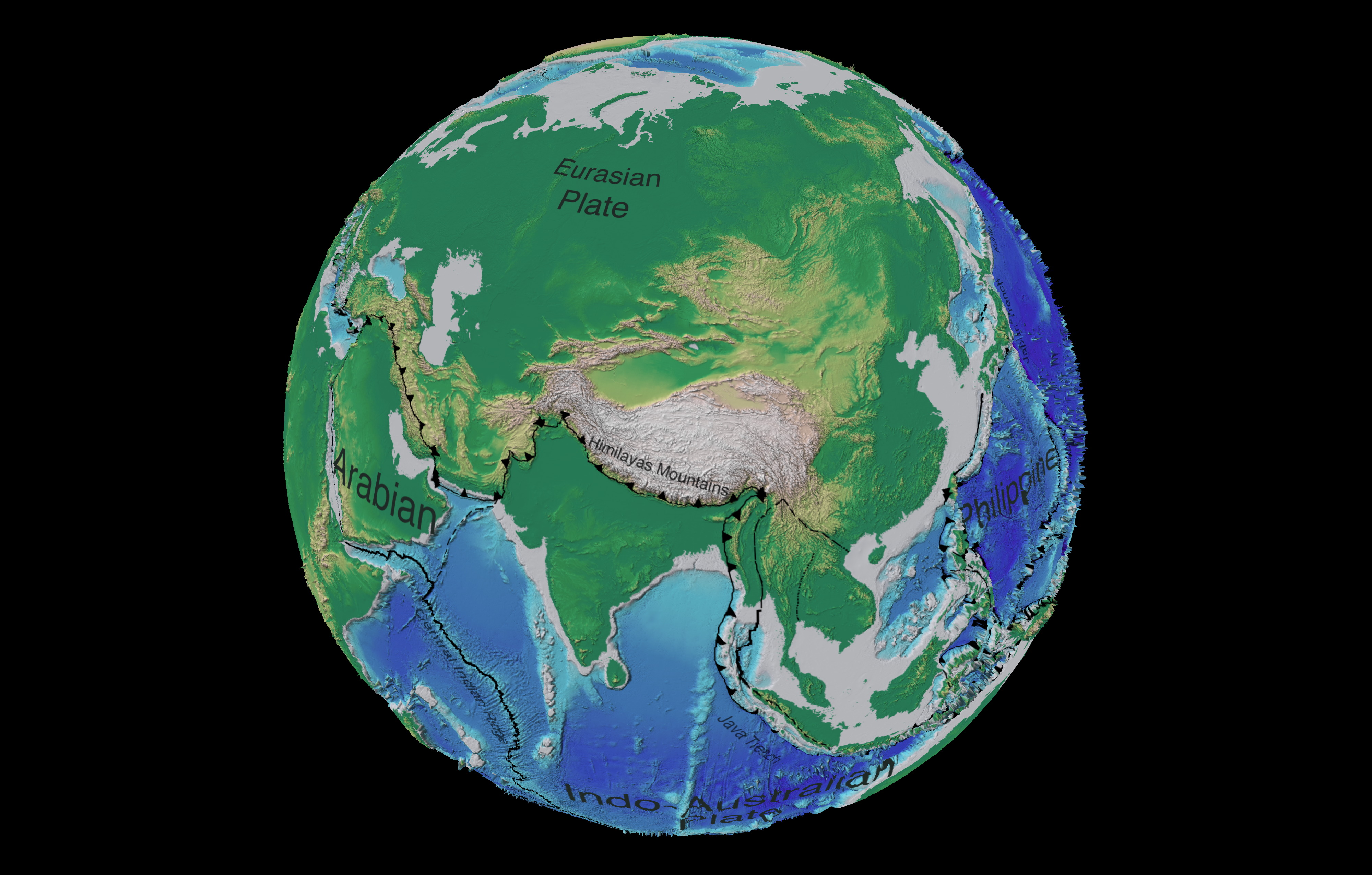 Asia tectonic and bathymetric map