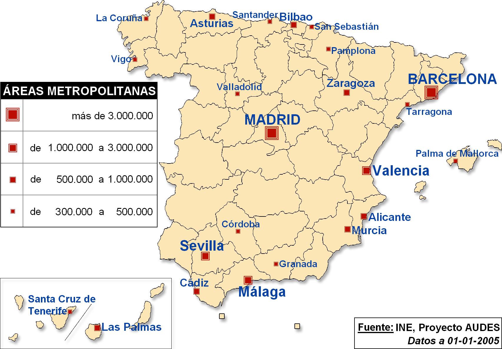 Principales reas metropolitanas de espa a 2005 tama o - Graficas madrid palma ...