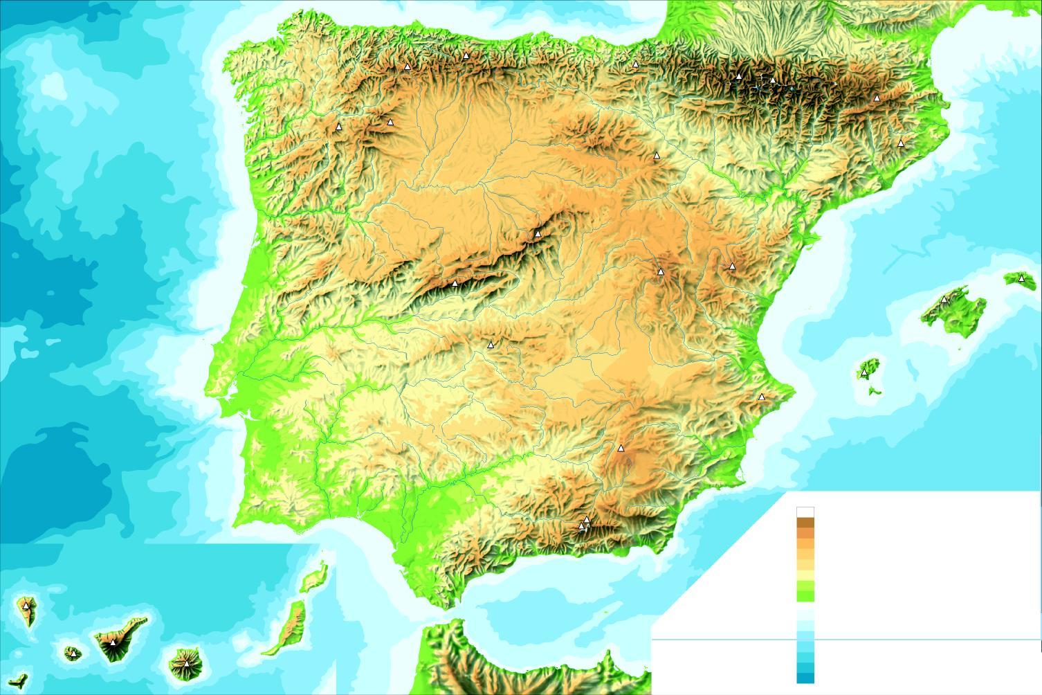 Mapa físico de España mudo