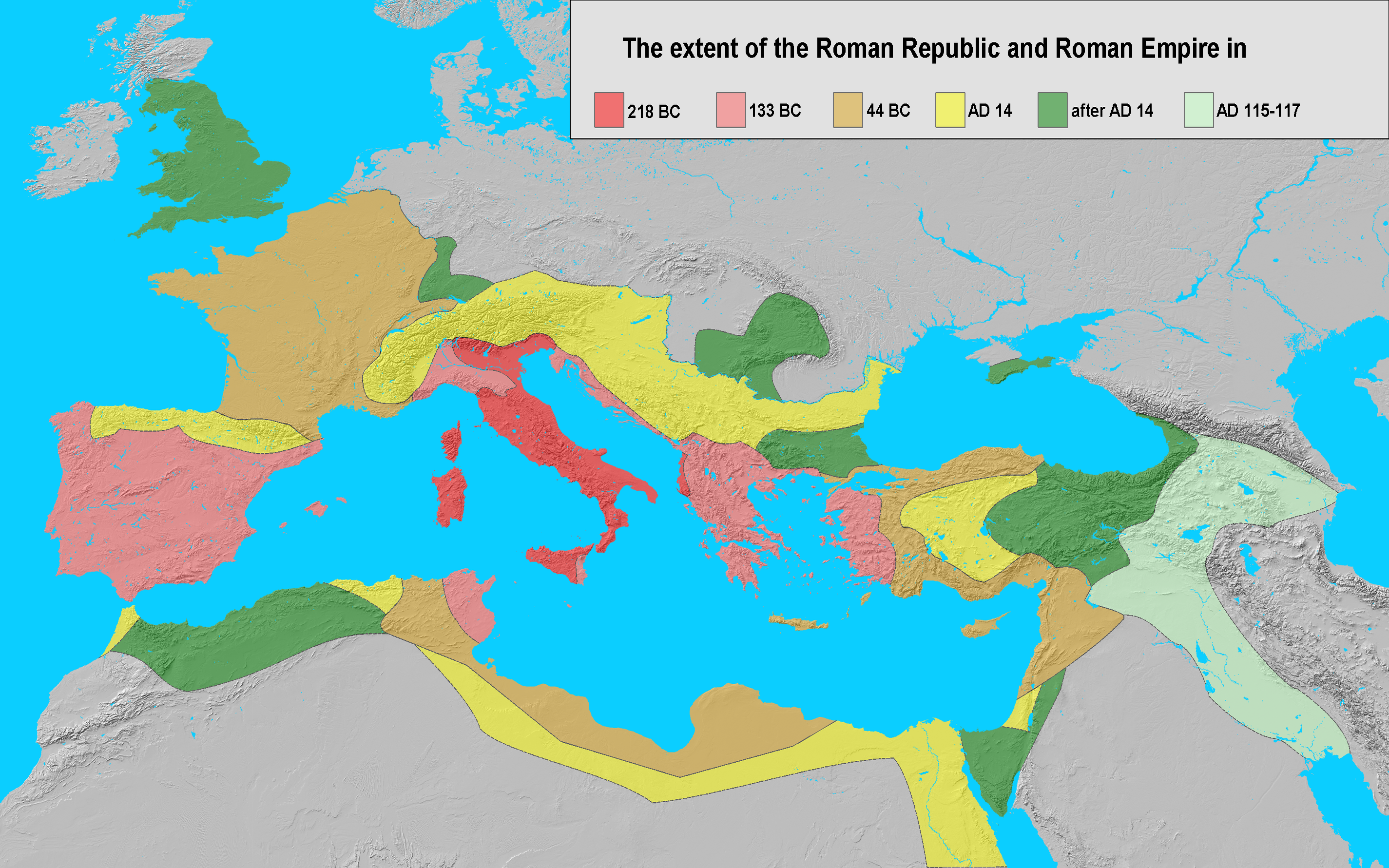 Extent of the roman empire in 218 bc dark red 133 bc light red