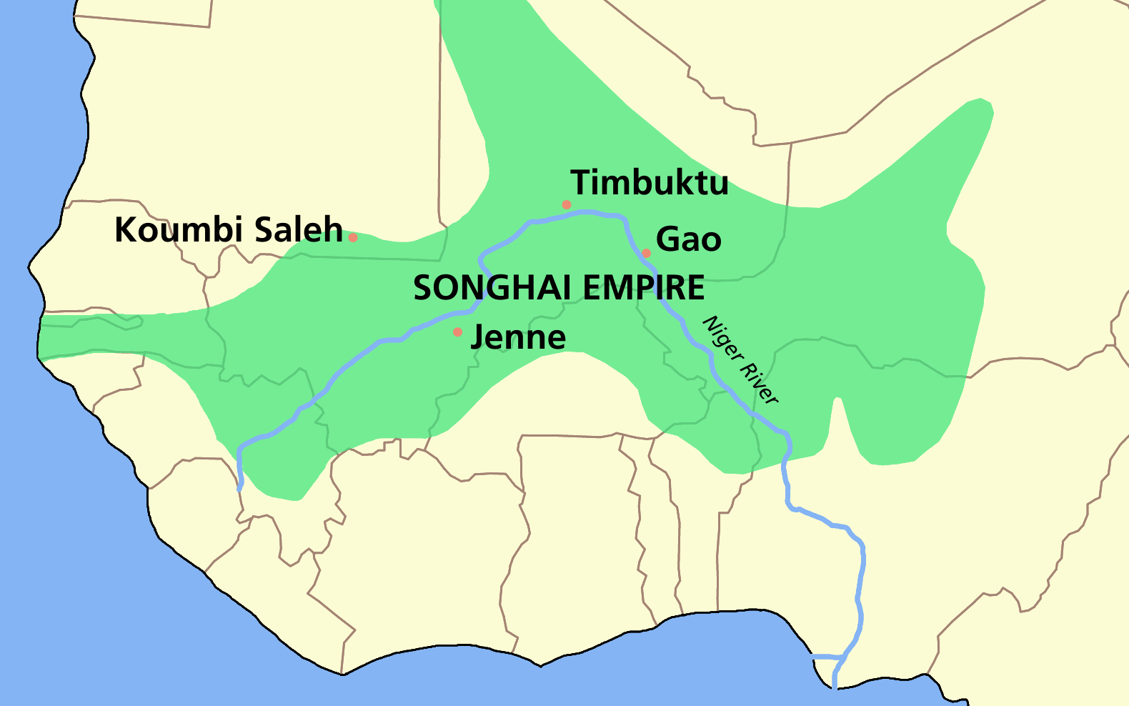 The extent of the Songhay Empire