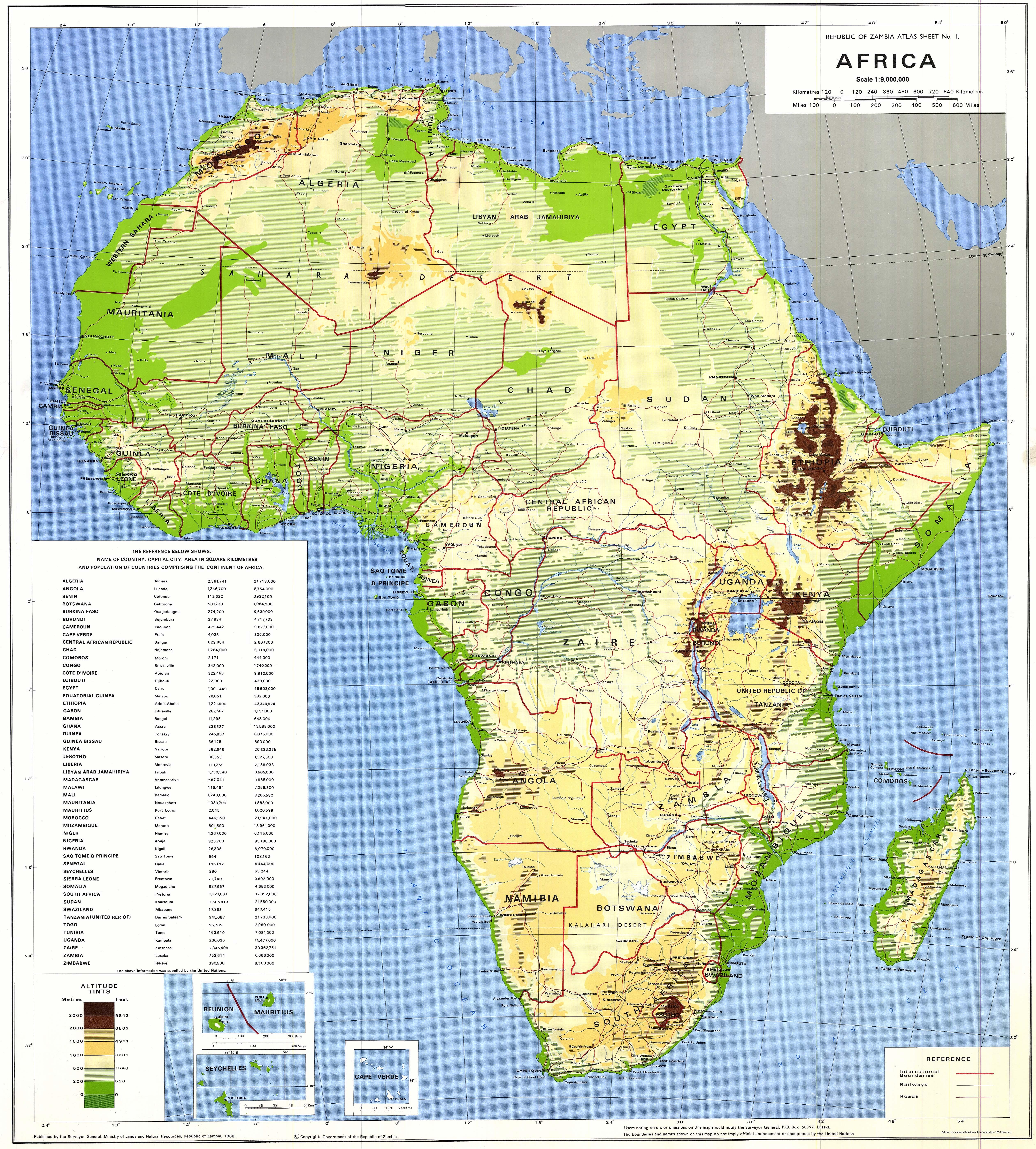 Africaphysicalmap1988 Good for latitude of Kili