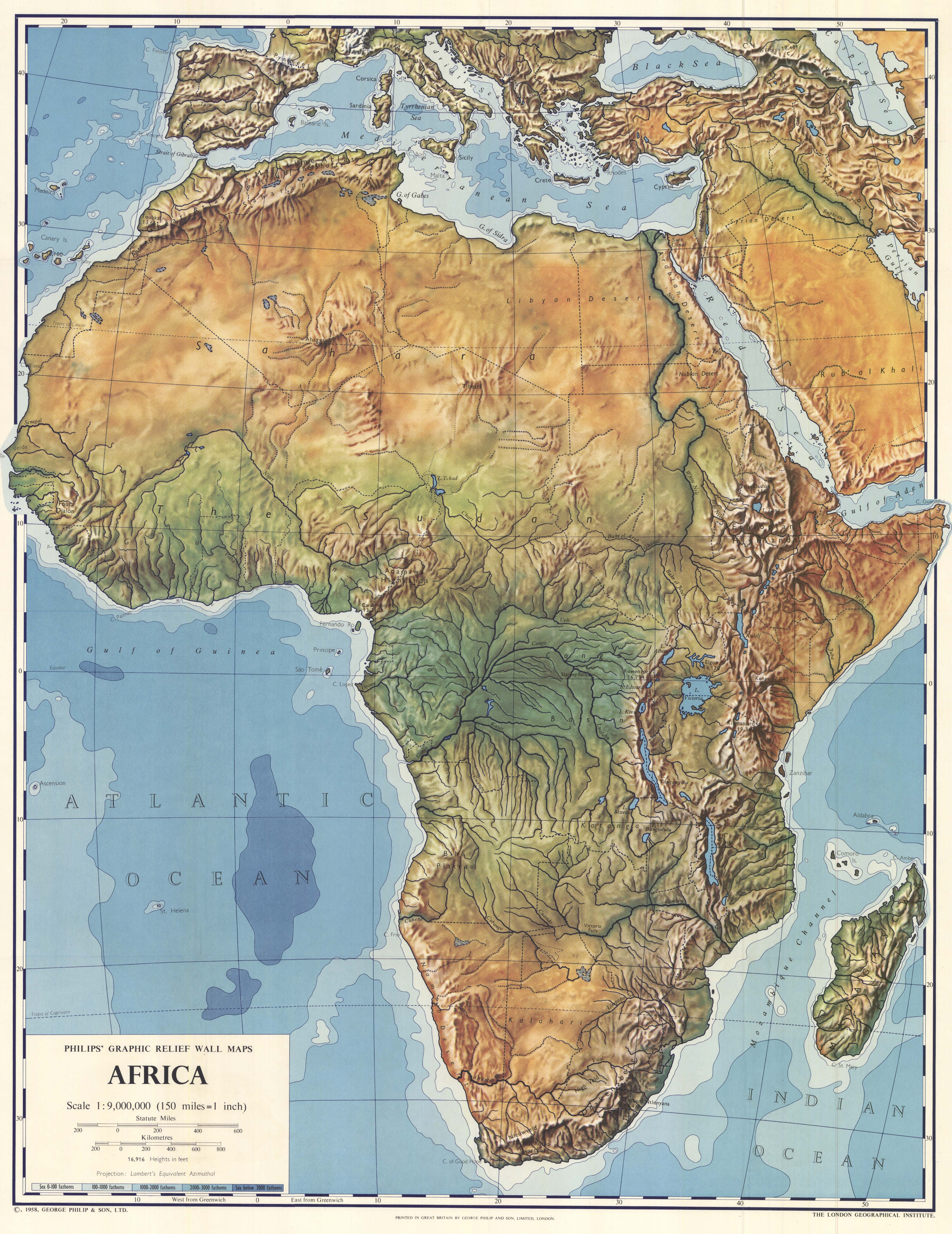 Africa physical map 1958 - Full size