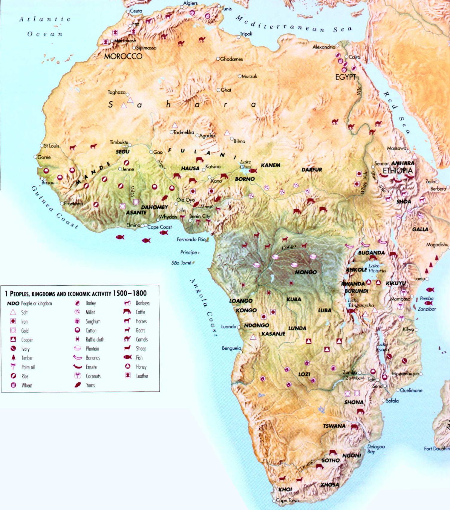 Physical Features Africa Map Sub Saharan Africa Physical Features Map
