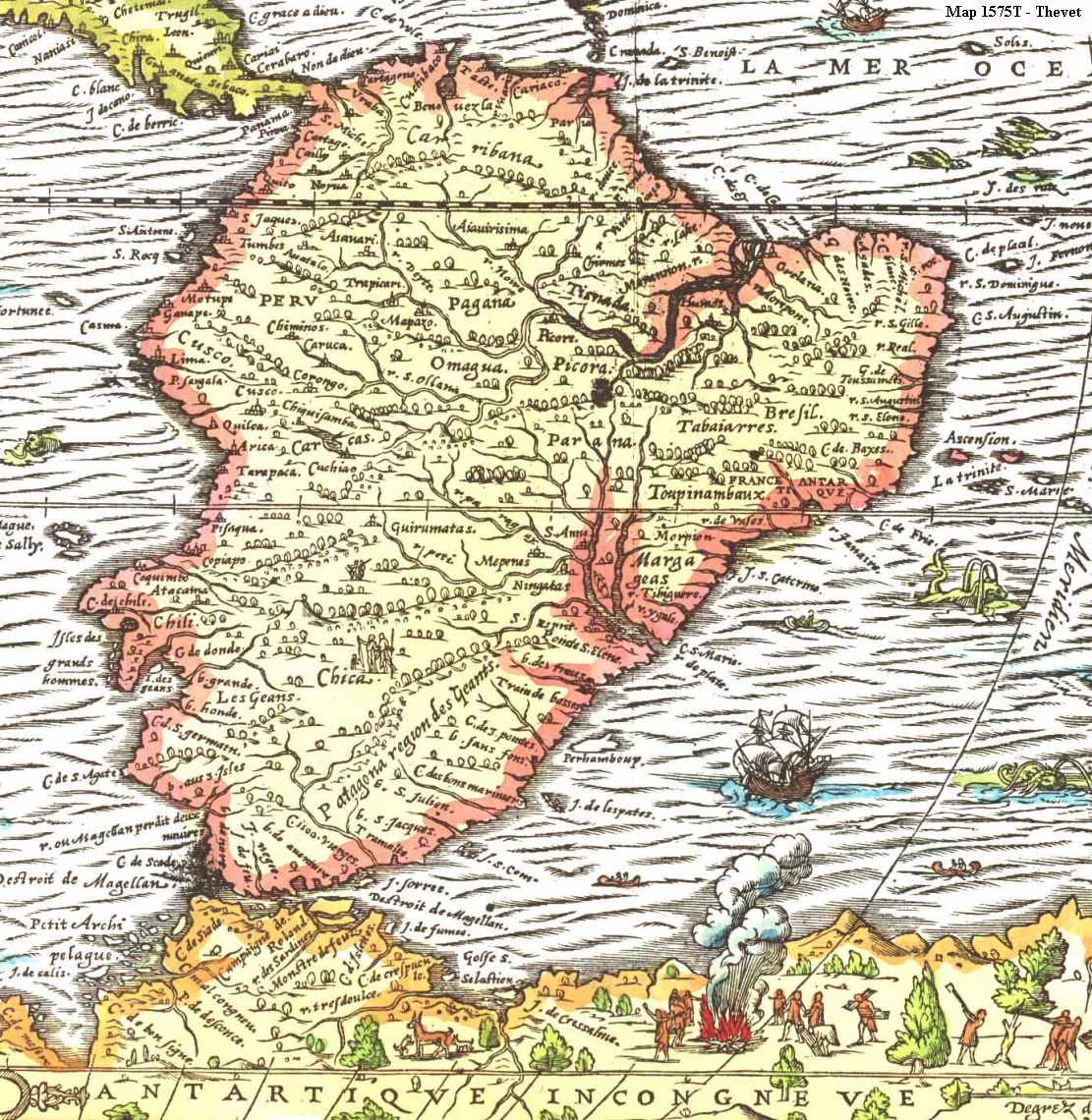 Map of South America from 1575