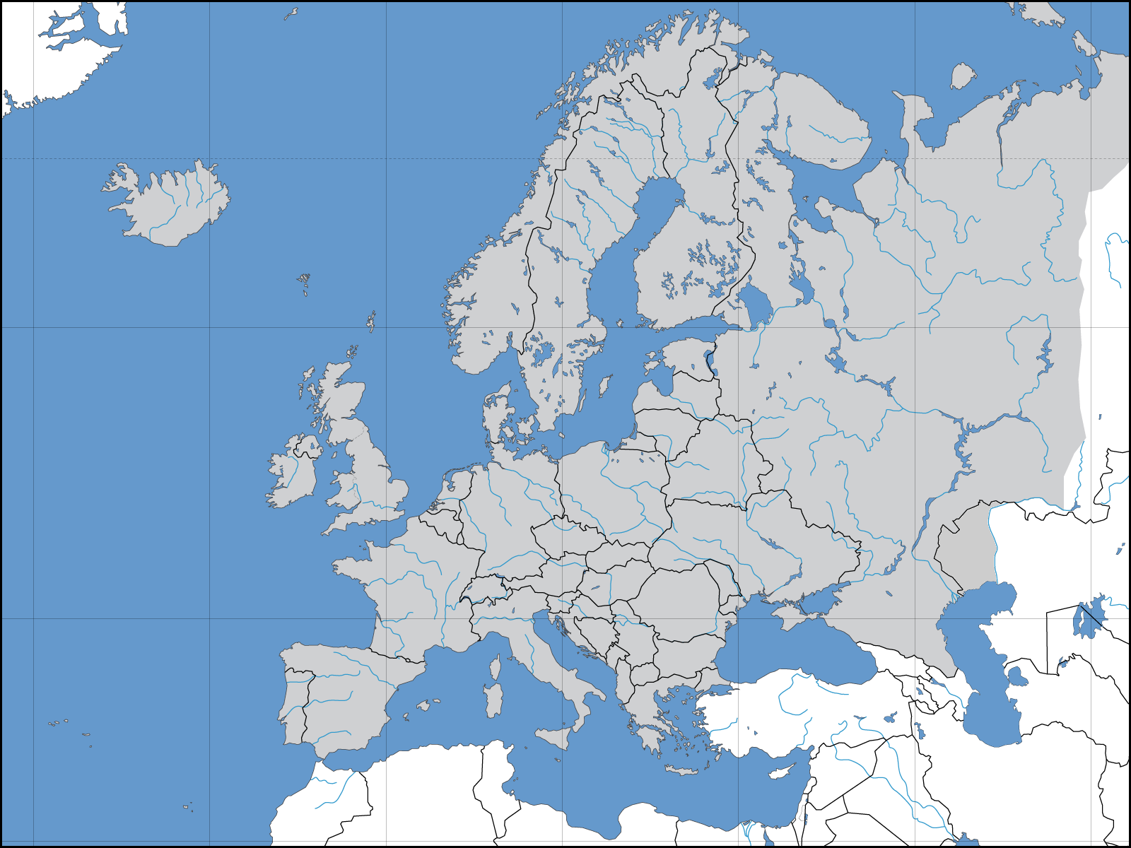 Europe political blank map - Full size