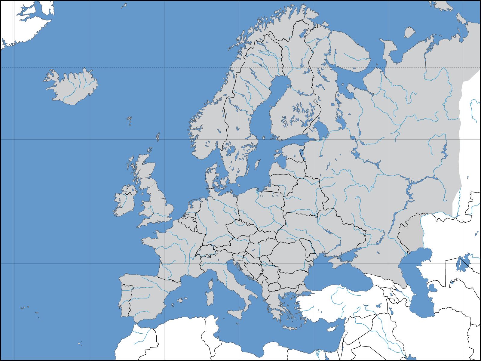 Mapa político mudo de europa