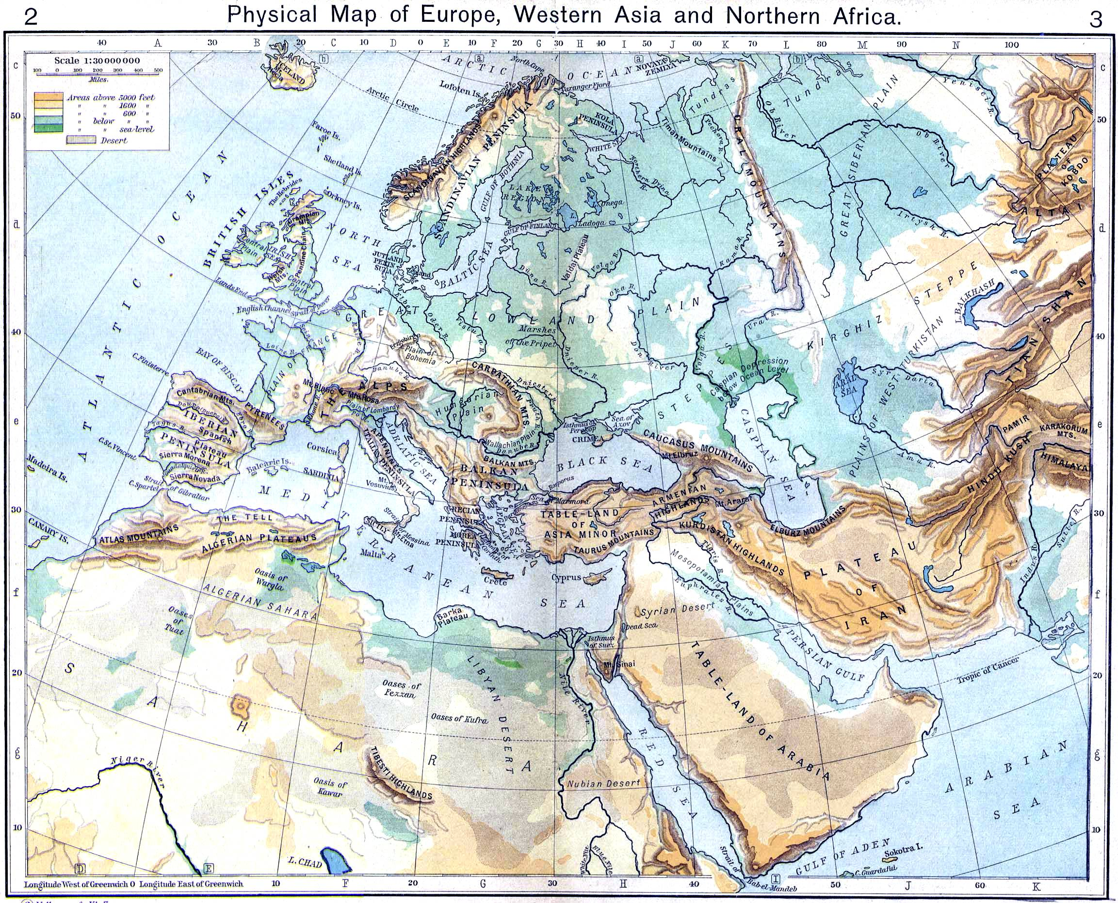 Mapa Físico de Europa, Asia occidental y África del Norte - Tamaño ...