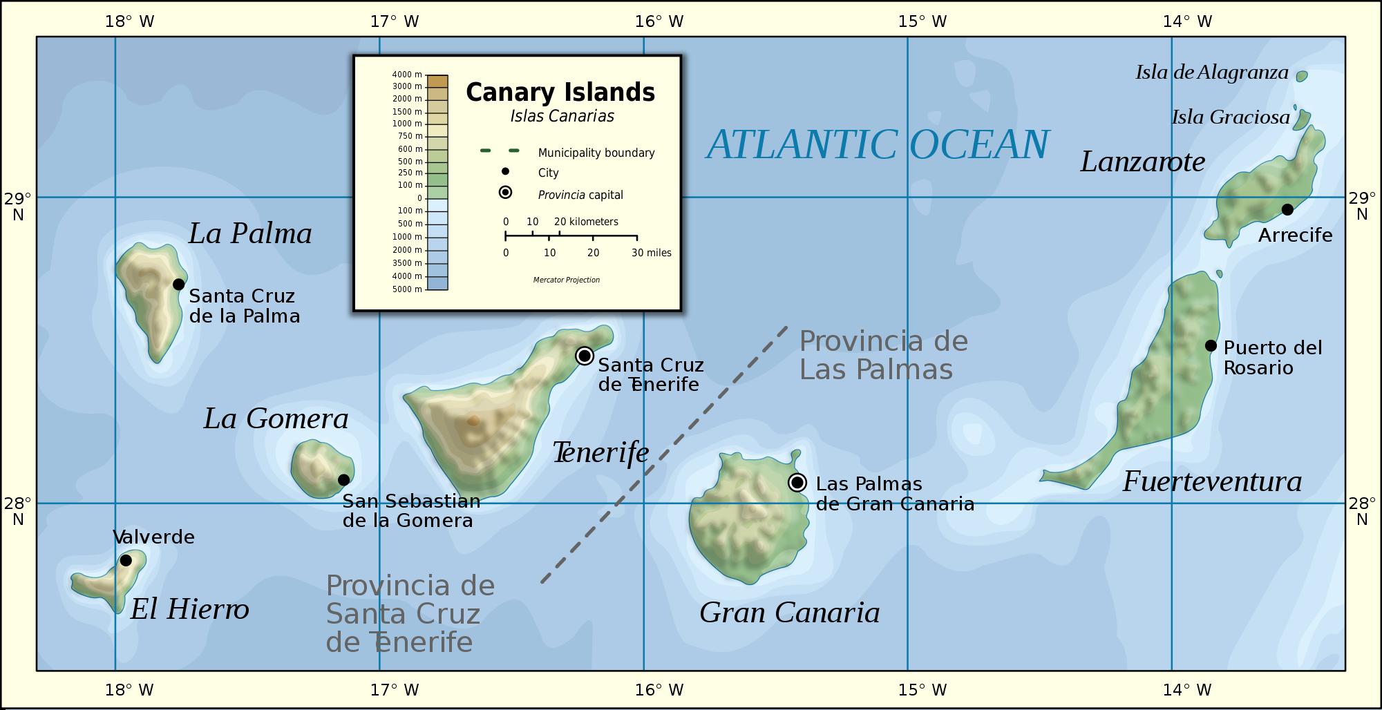 Tamaño Islas Canarias de Las Islas Canarias 2007