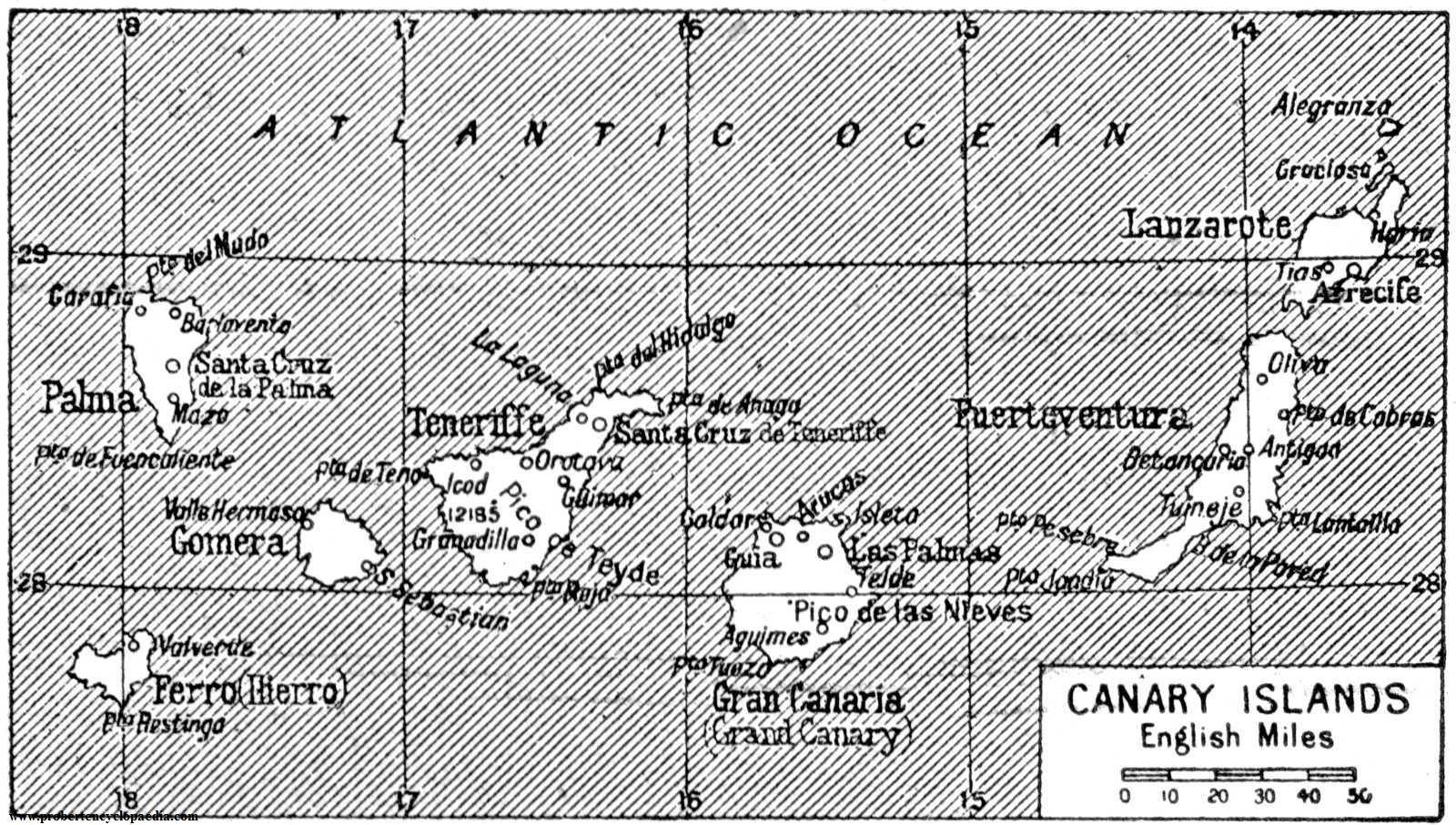 Tamaño Islas Canarias Mapa de Las Islas Canarias