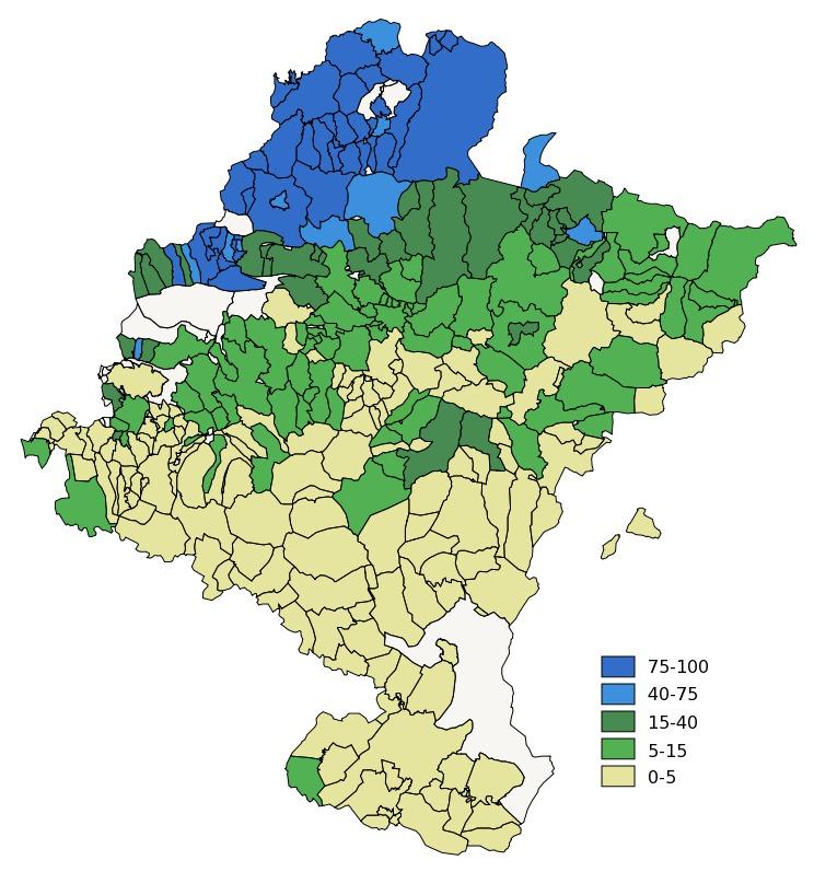Basque language in Navarre 2001 - Full size