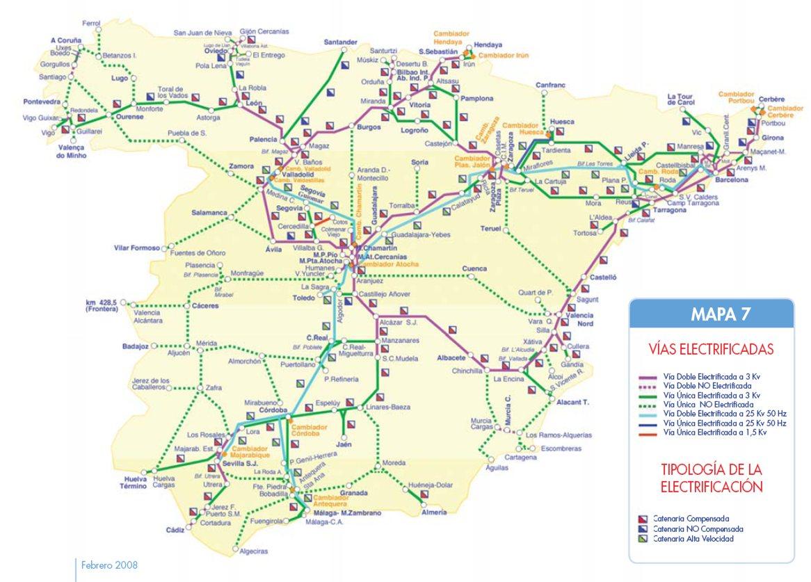 Mapa ferroviario de espa a tama o completo for Direccion madrid espana