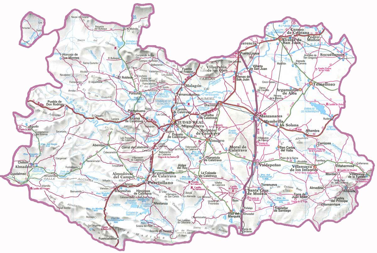 Mapa de carreteras de la provincia de ciudad real tama o - Plano de ciudad real ...