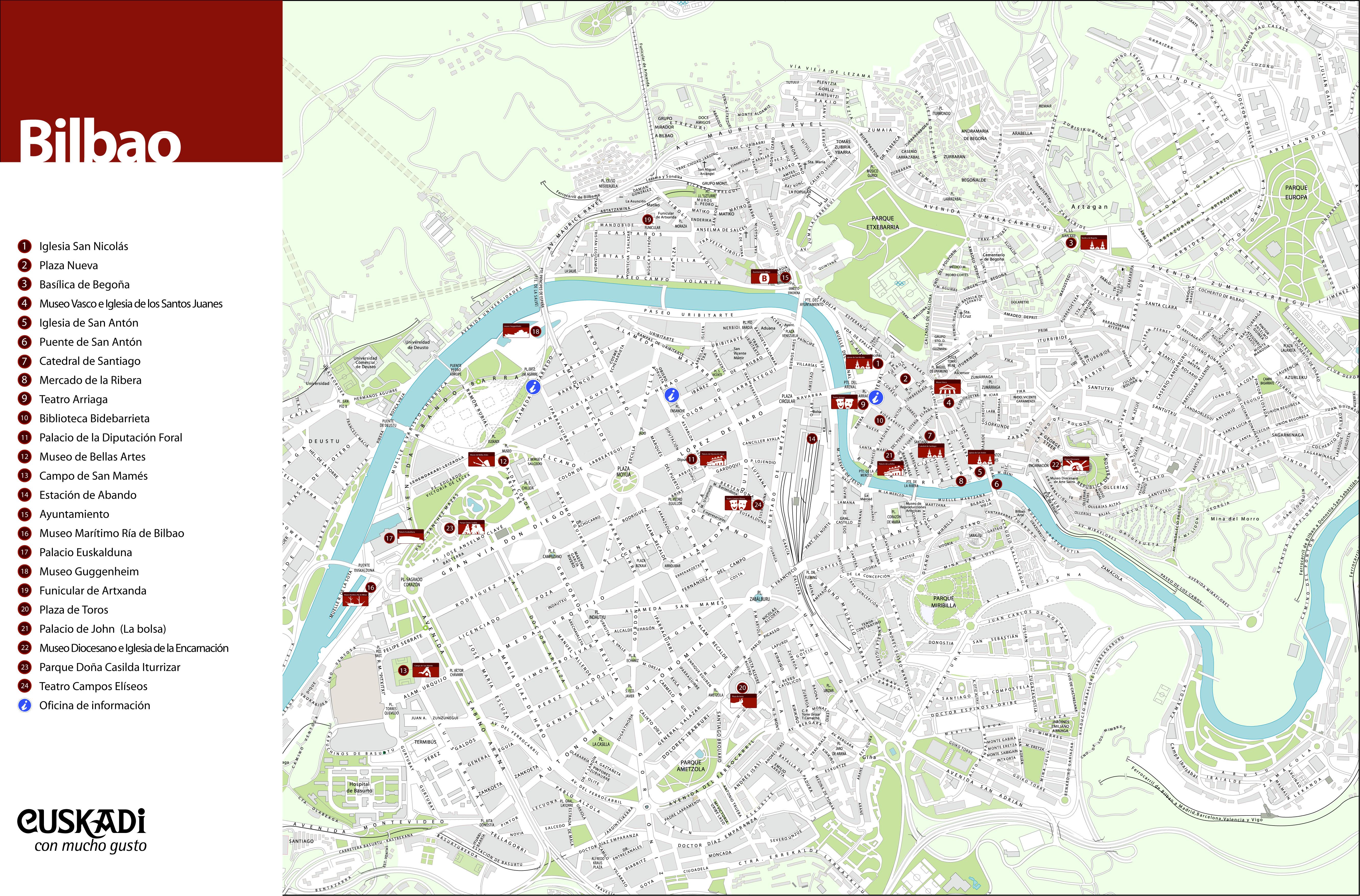 Bilbao Spain Map Tourist Bilbao Spain Map
