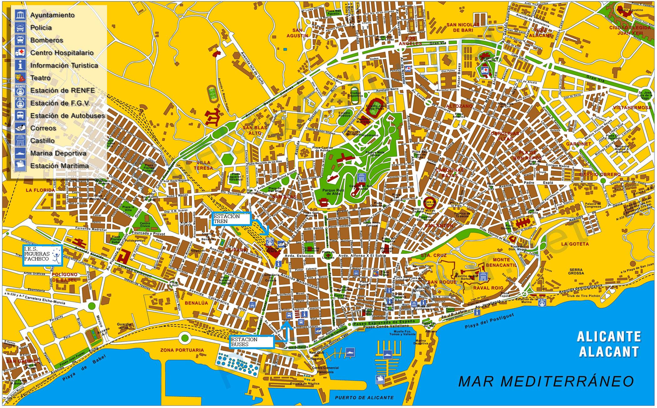 Mapa de alicante tama o completo for Codigo postal del barrio de salamanca en madrid