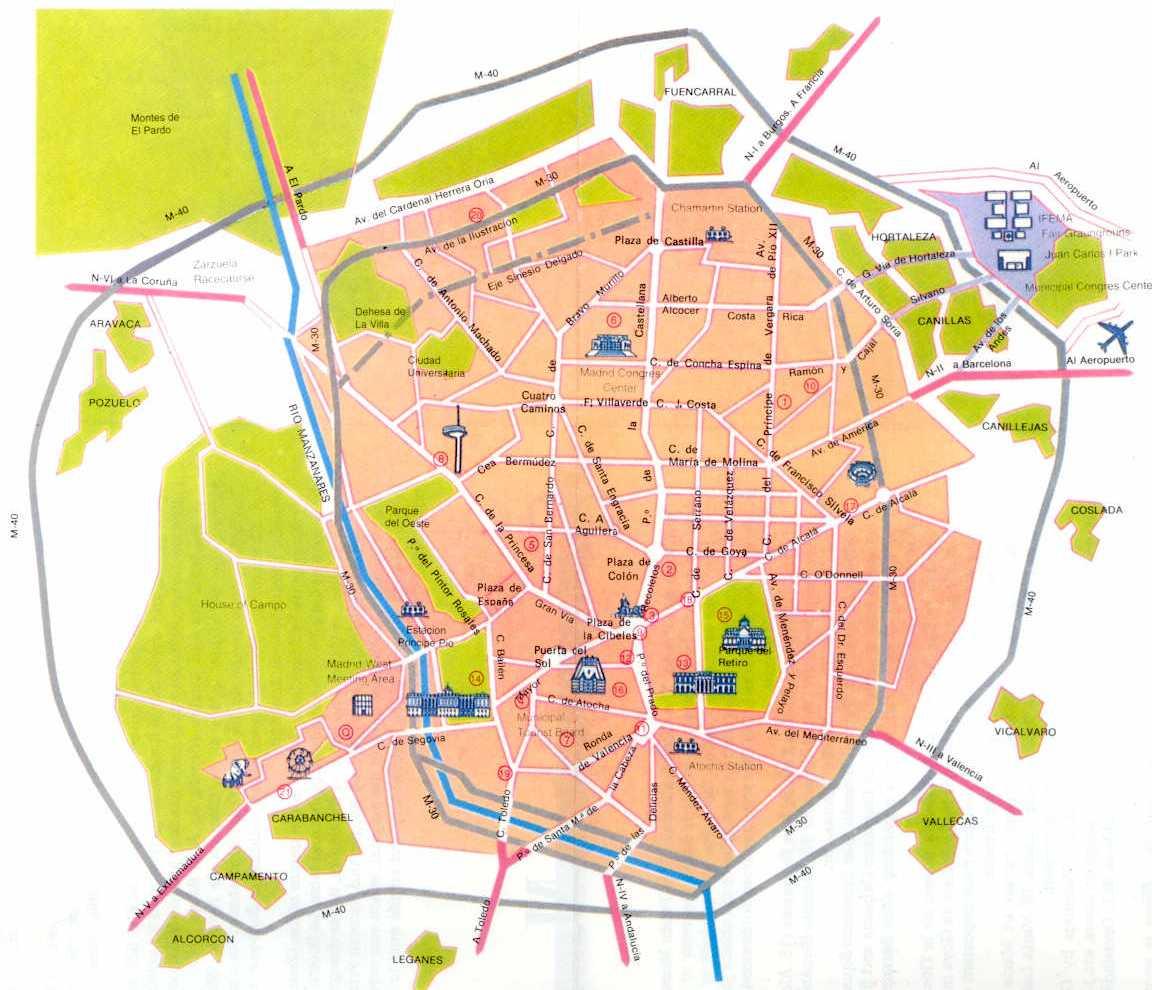 Plano tur stico de madrid tama o completo for Mapa de codigos postales de madrid capital