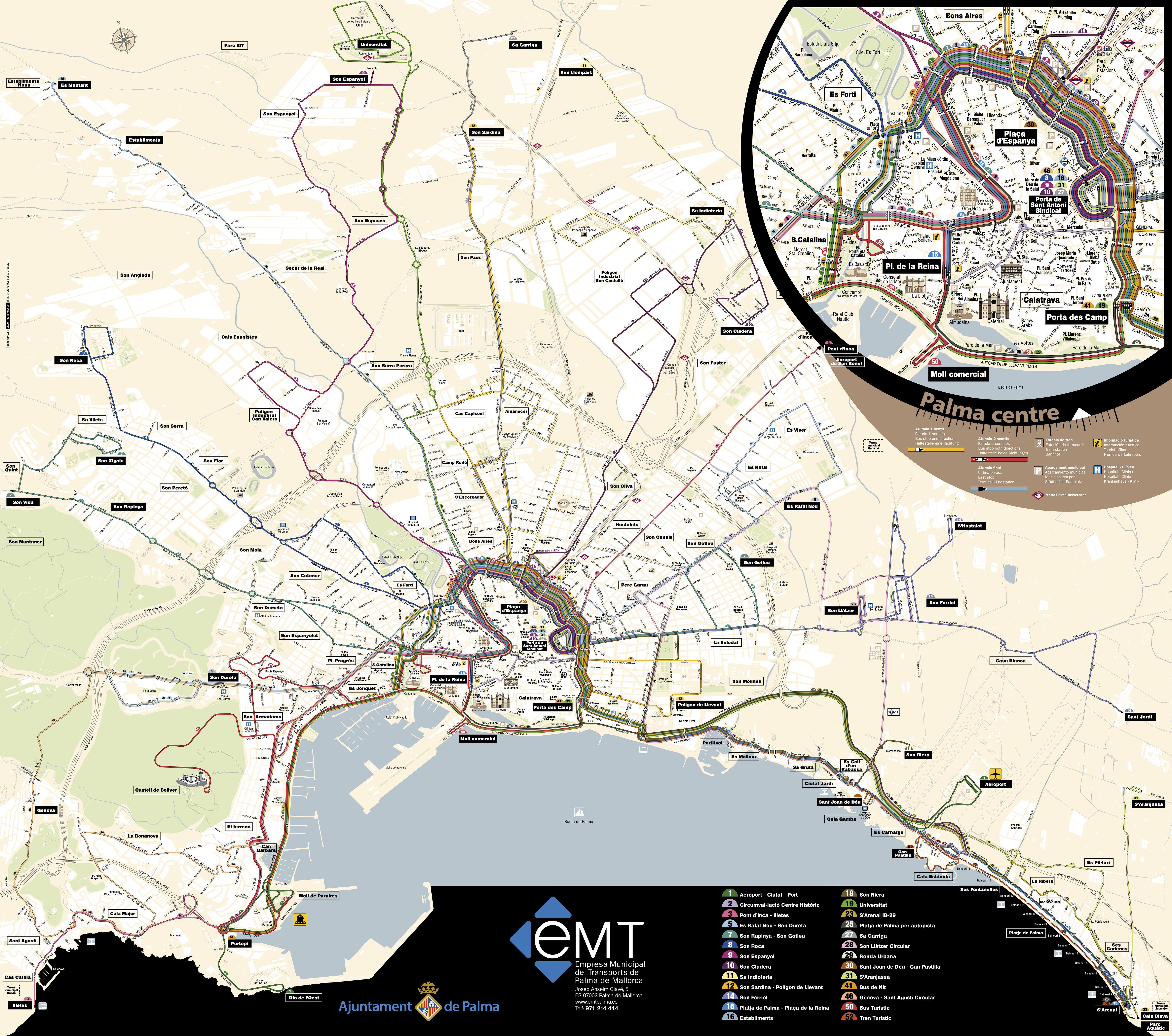 Itinerarios de autobuses de palma de mallorca 2008 - Transportes palma de mallorca ...