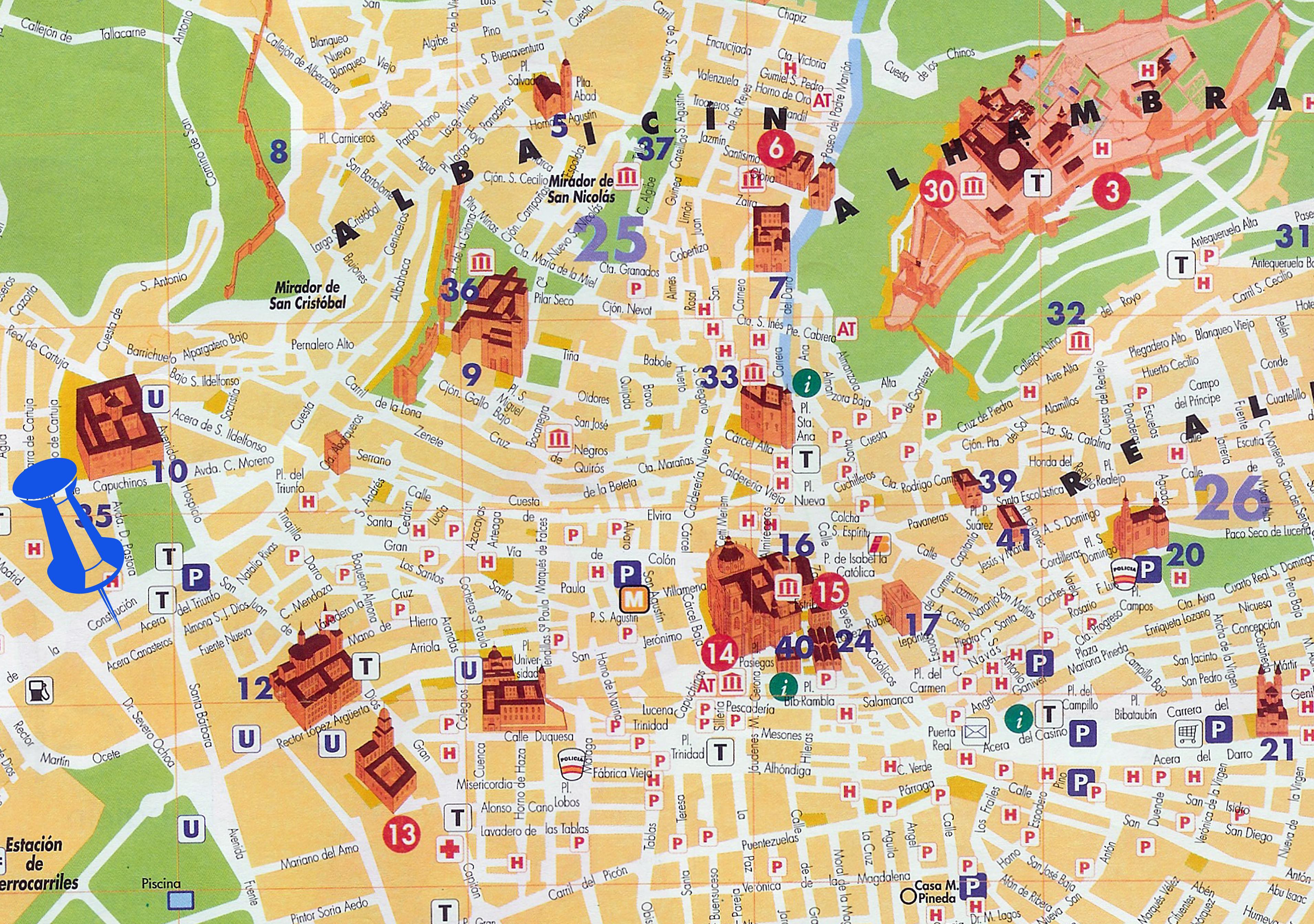 Granada tourist map - Full size GRANADA MAP
