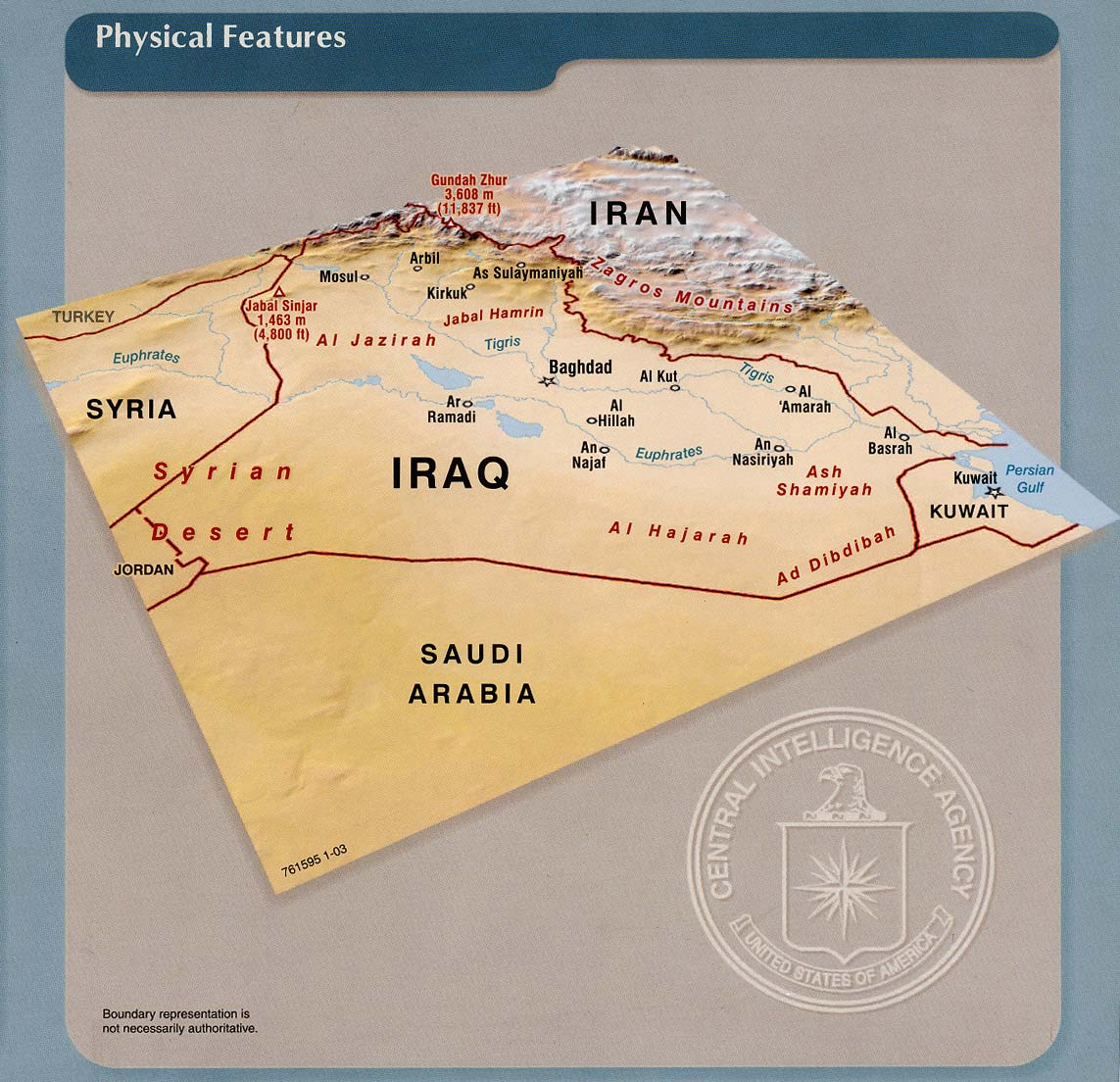 Iraq Physical Features 2003 - Full size