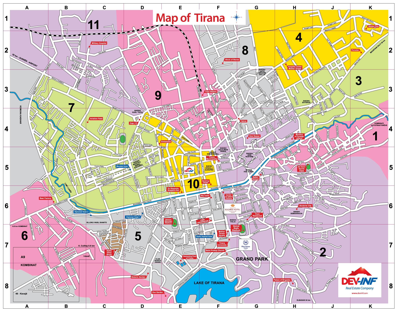 Tirana map - Full size