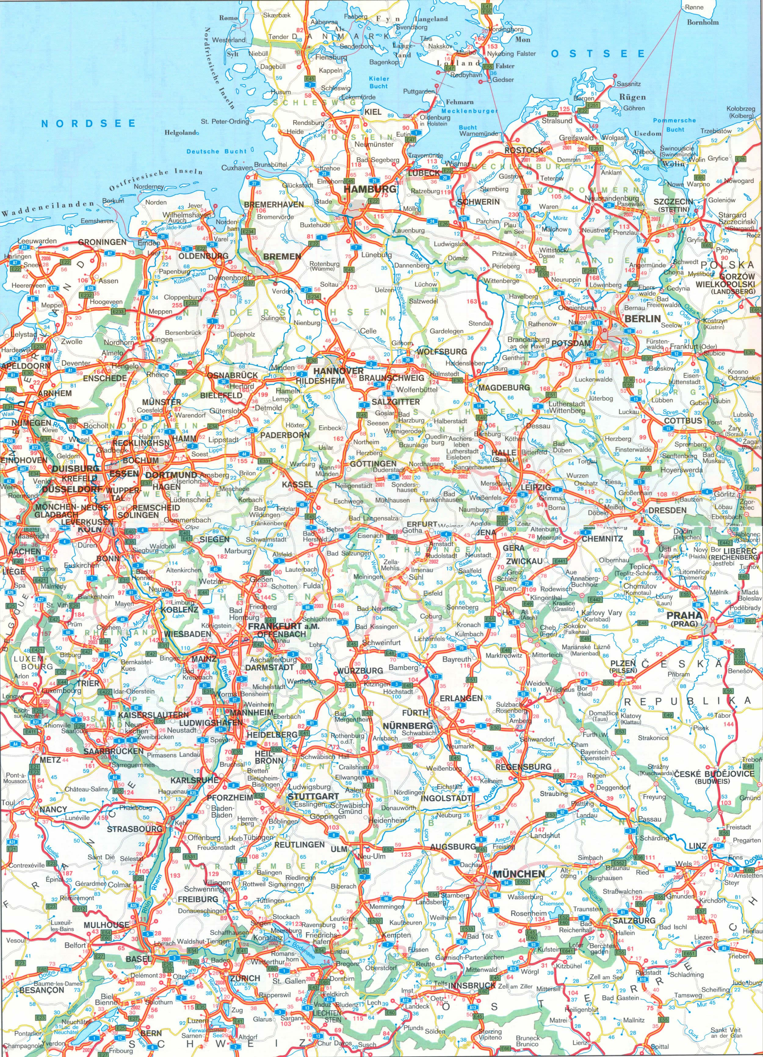 germany driving map germany driving map major tourist attractions