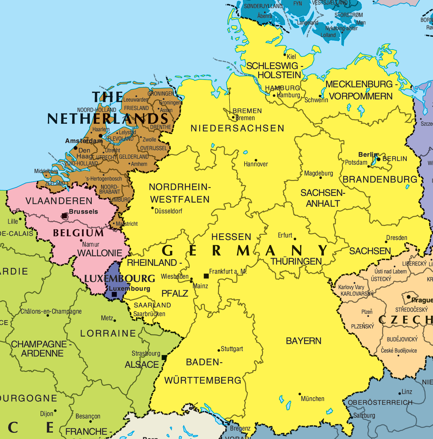 Political Map of Germany Full size