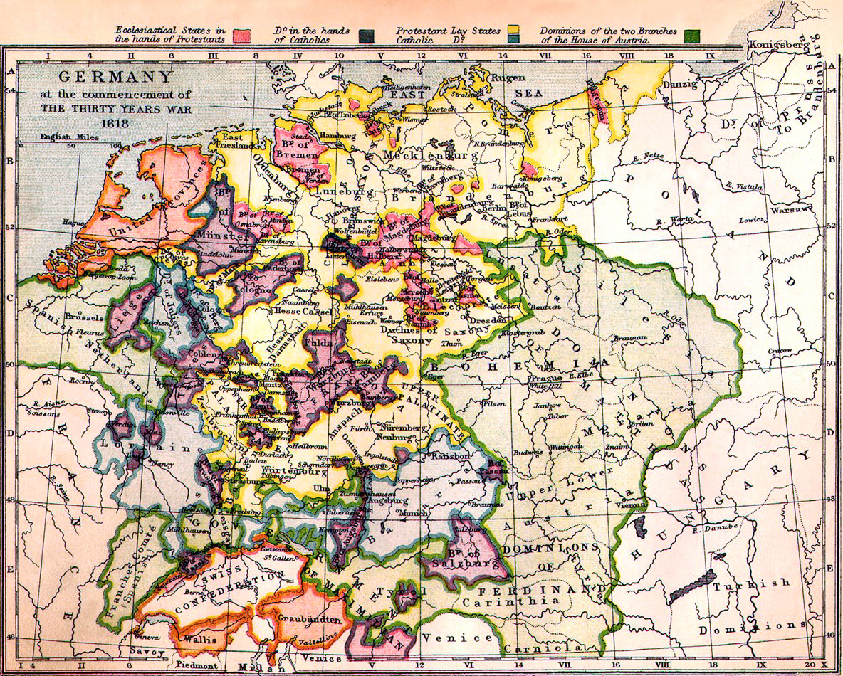 Germany at the commencement of the Thirty Years War 1618 - Full size