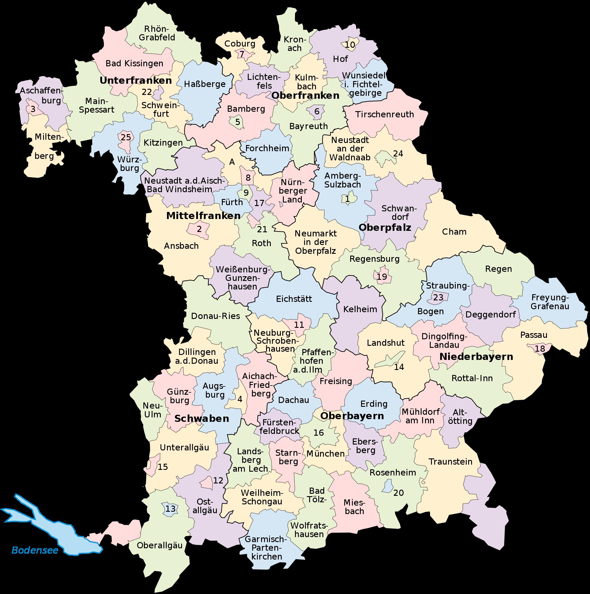 regierungsbezirke bayern karte