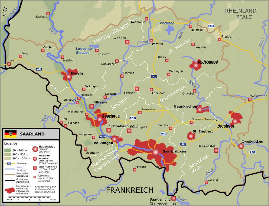Saarland Map 2005 Full Size