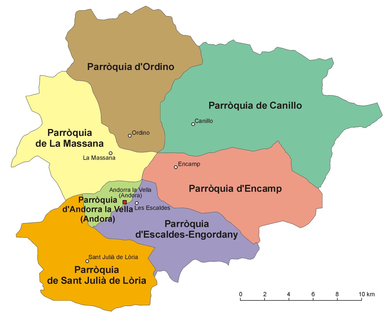 Las 7 parroquias de Andorra - Tamaño completo