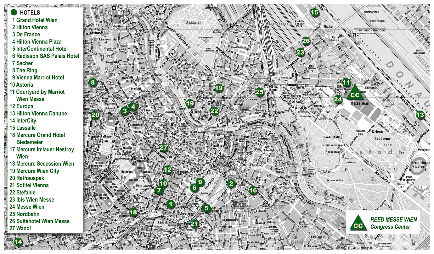Hotels in Vienna Full size – Tourist Map Of Vienna