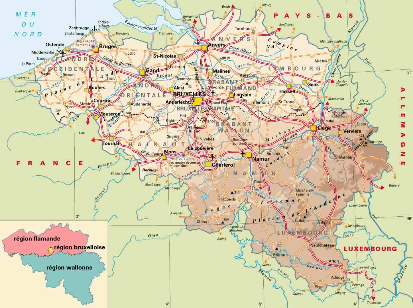 Belgium online maps geographical political road railway – Belgium Rivers Map