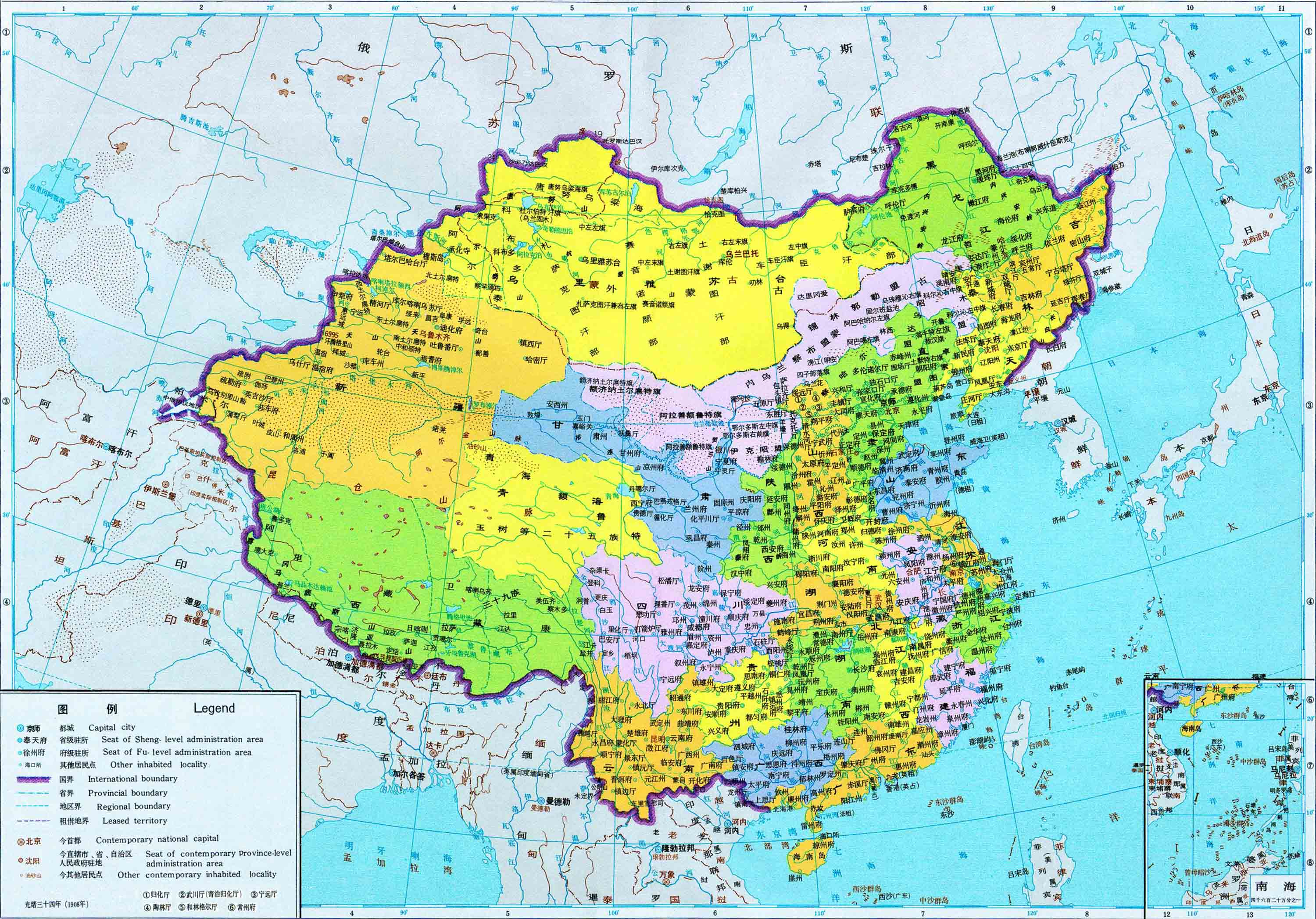 The Qing Dynasty in 1908 - Full size
