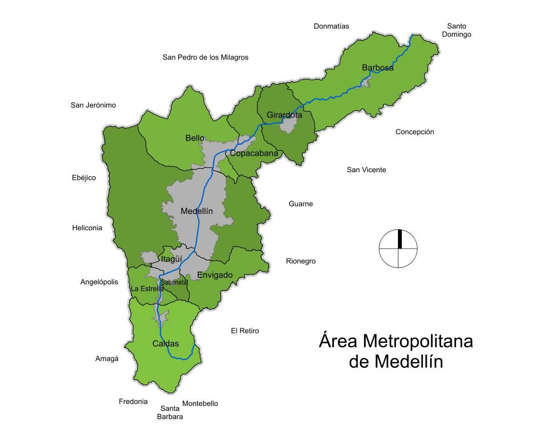 Rea metropolitana de medell n 2009 tama o completo for Mapa santander sucursales