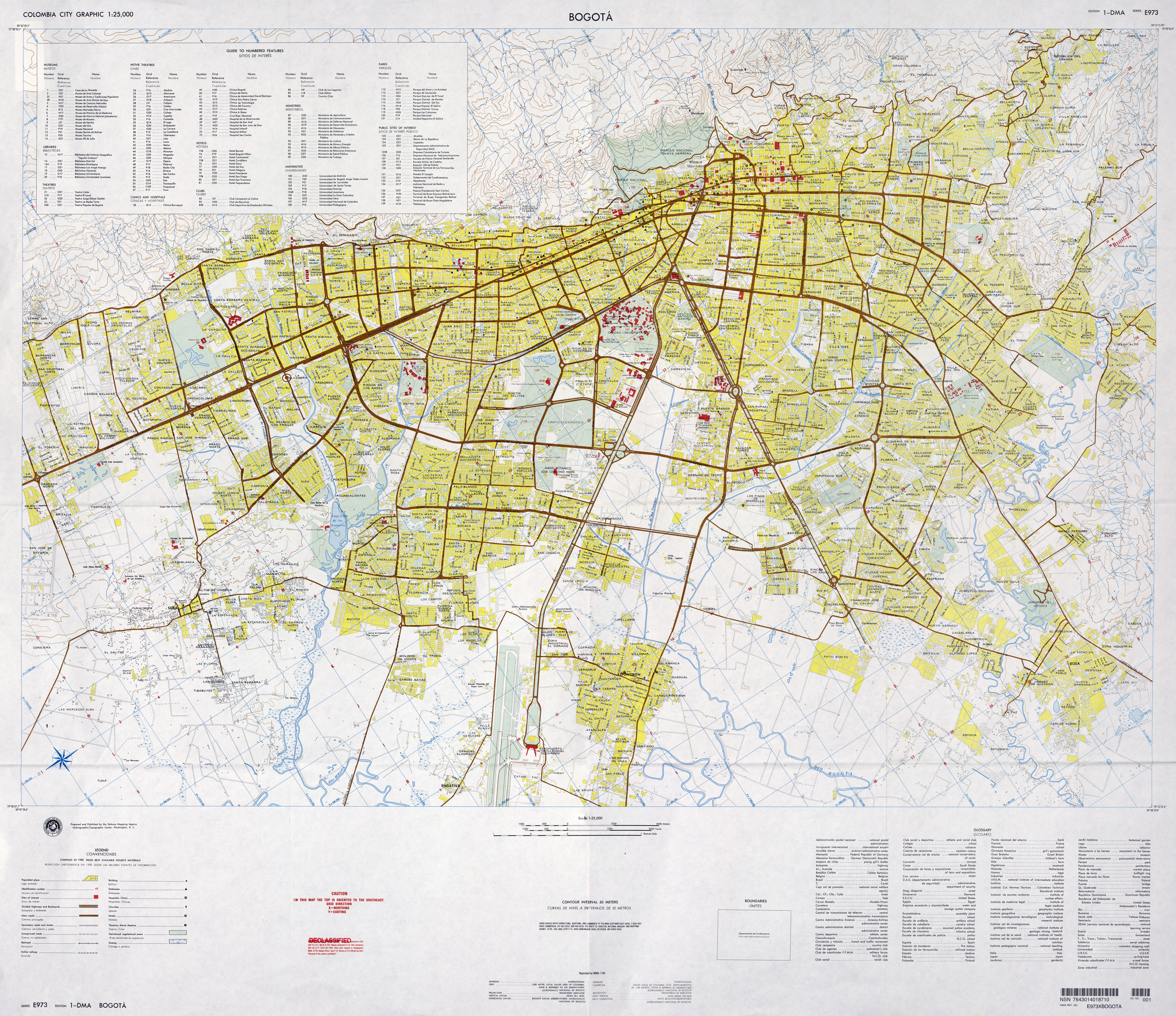 mapa bogota 1960